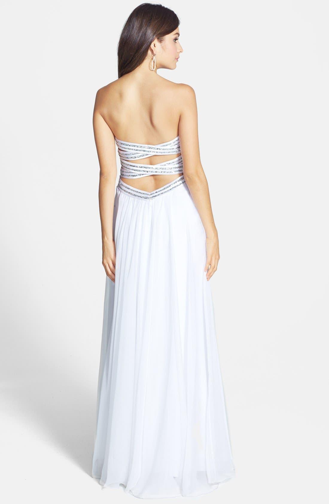 Alternate Image 2  - La Femme Embellished Bodice Chiffon Gown