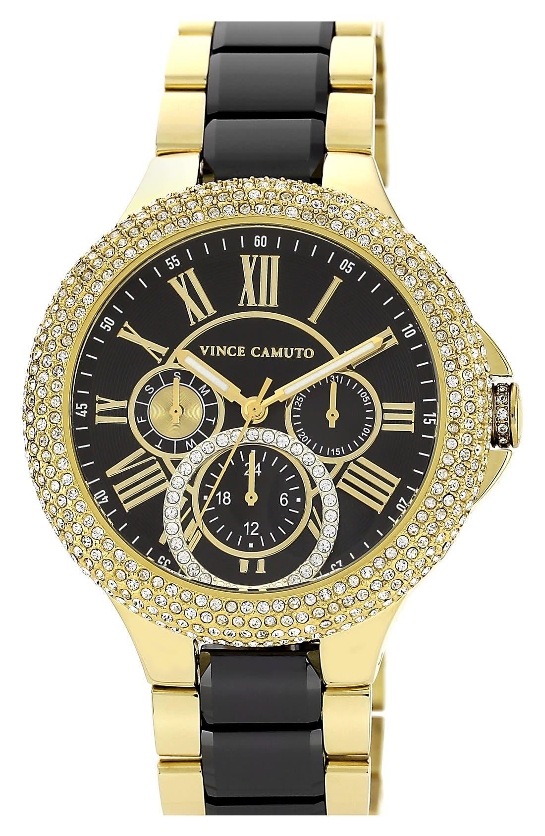 Main Image - Vince Camuto Crystal Bezel Multifunction Ceramic Link Bracelet Watch, 42mm
