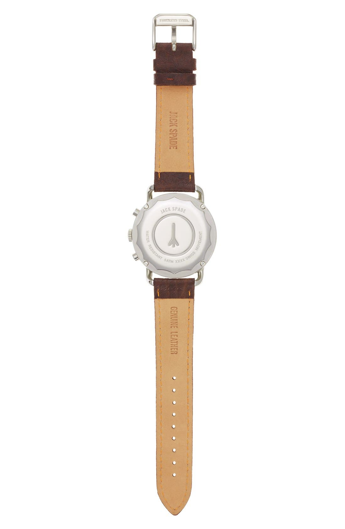 Alternate Image 2  - Jack Spade 'Frasier' Chronograph Leather Strap Watch, 42mm