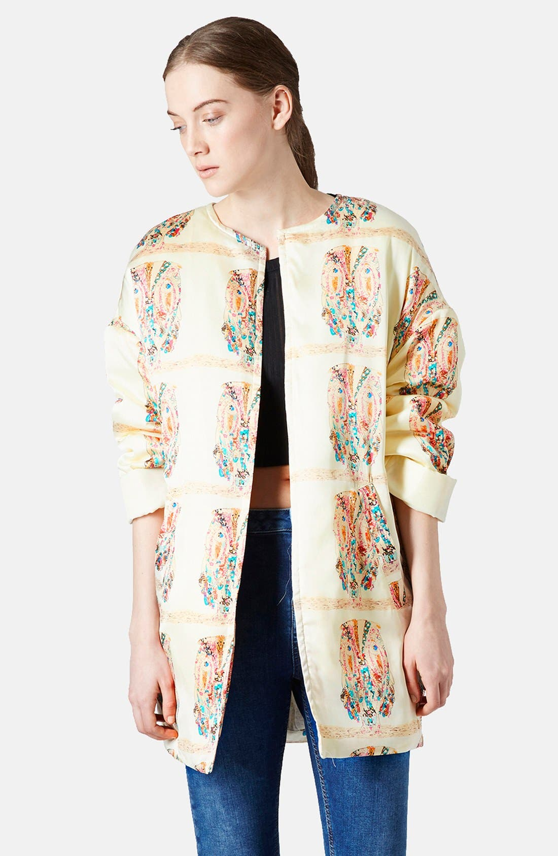 Alternate Image 1 Selected - Topshop Owl Pattern Satin Jacket