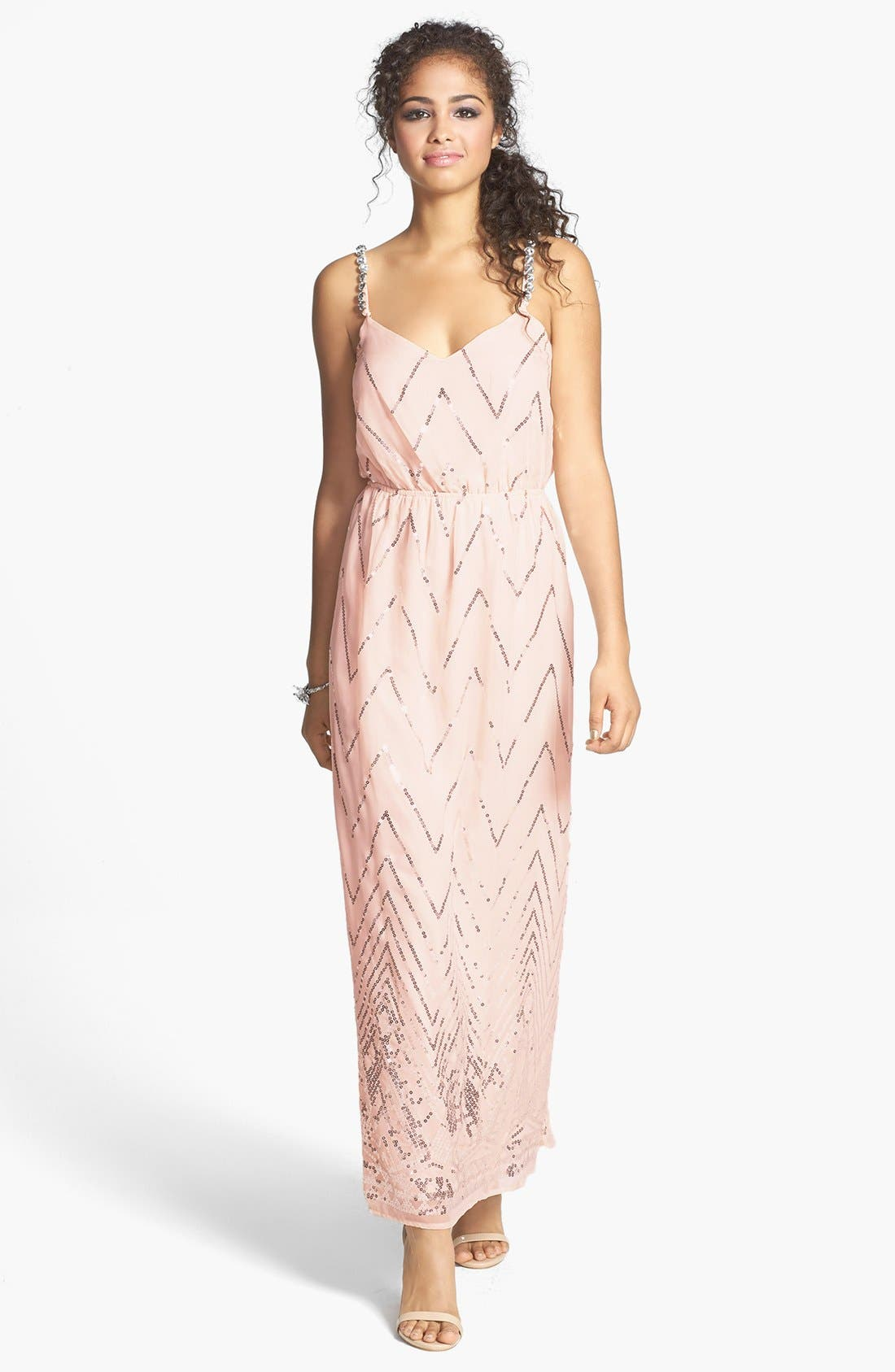 Main Image - Secret Charm Twist Back Chevron Sequin Maxi Dress (Juniors)