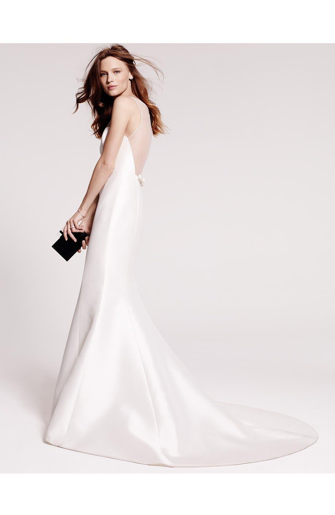 Alternate Image 7  - Amsale Preston Silk Magnolia Sheath Wedding Dress