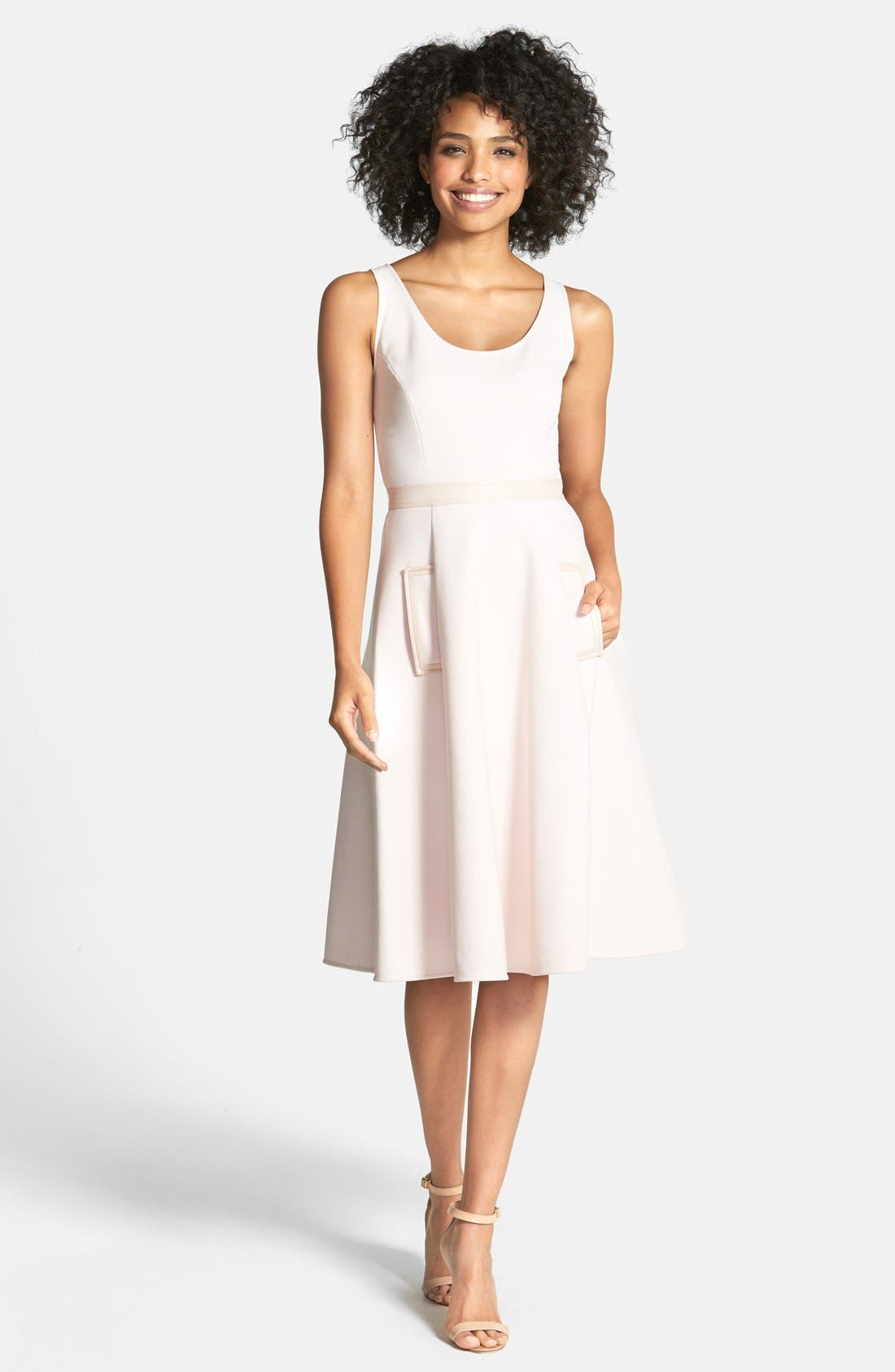 Alternate Image 1 Selected - Cynthia Steffe Faux Leather Trim Fit & Flare Dress