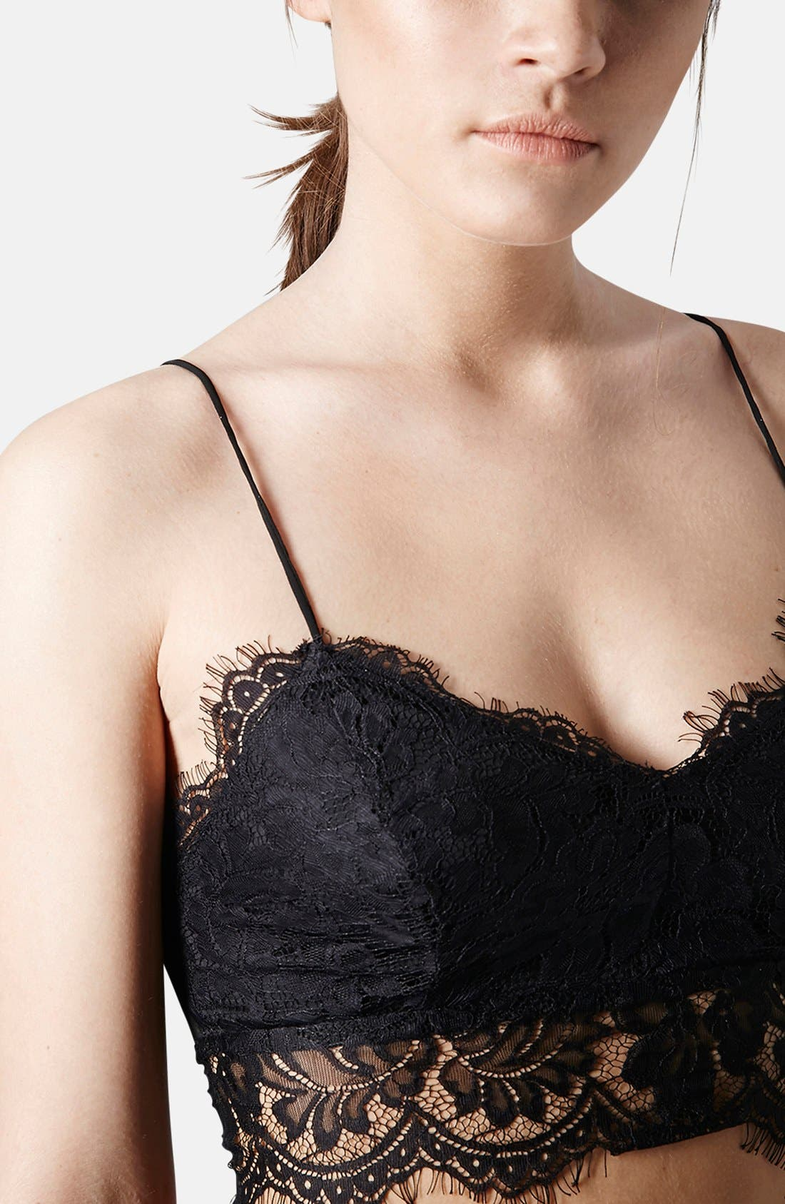 Alternate Image 3  - Topshop Lace Mesh Bralette