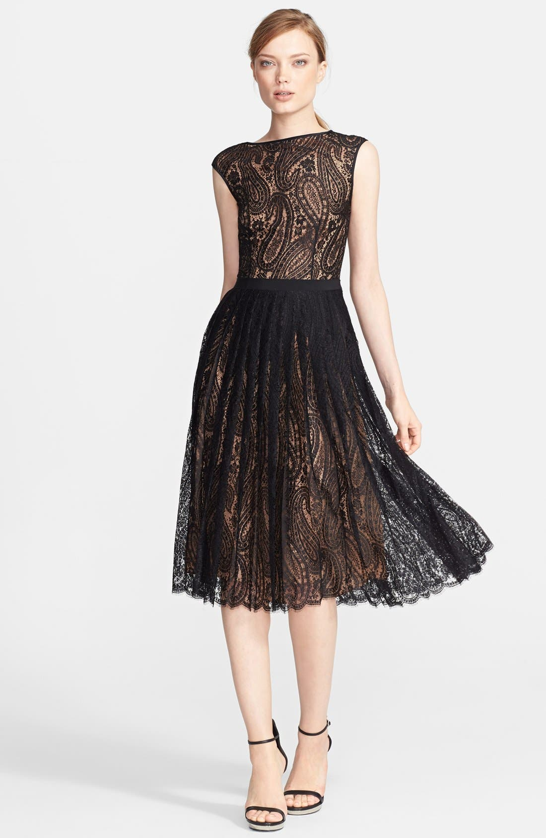 Alternate Image 1 Selected - Michael Kors Boatneck Paisley Lace Dress