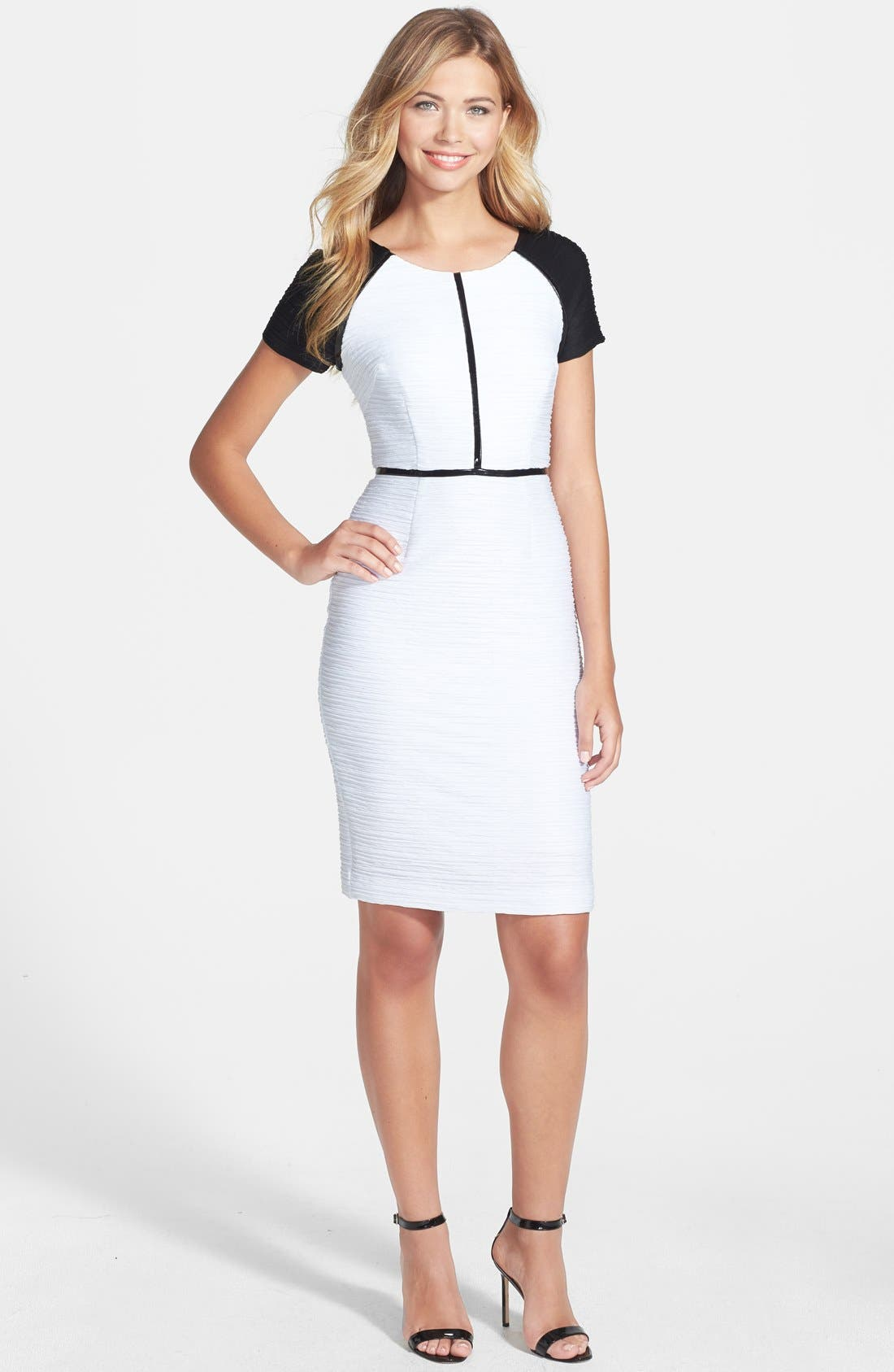 Alternate Image 3  - Nue by Shari Colorblock Ottoman Knit Sheath Dress
