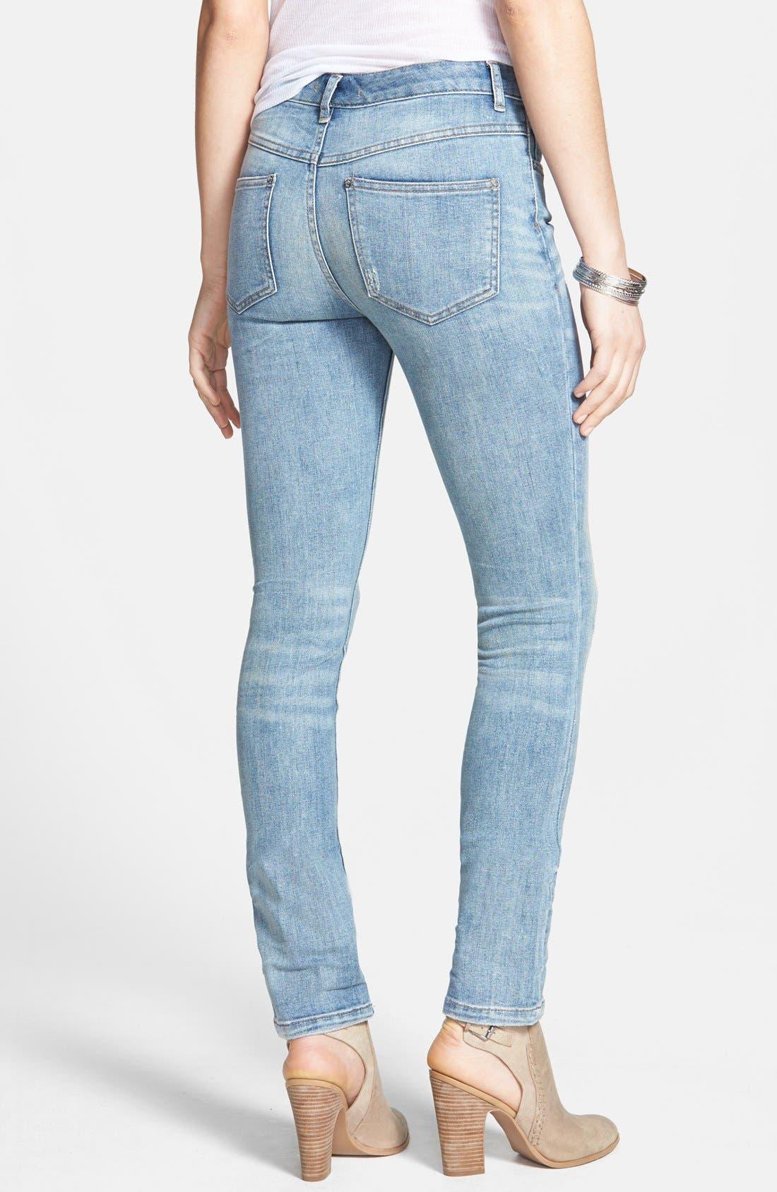 Alternate Image 2  - Free People Stretch Denim Skinny Jeans (Boston Blue)