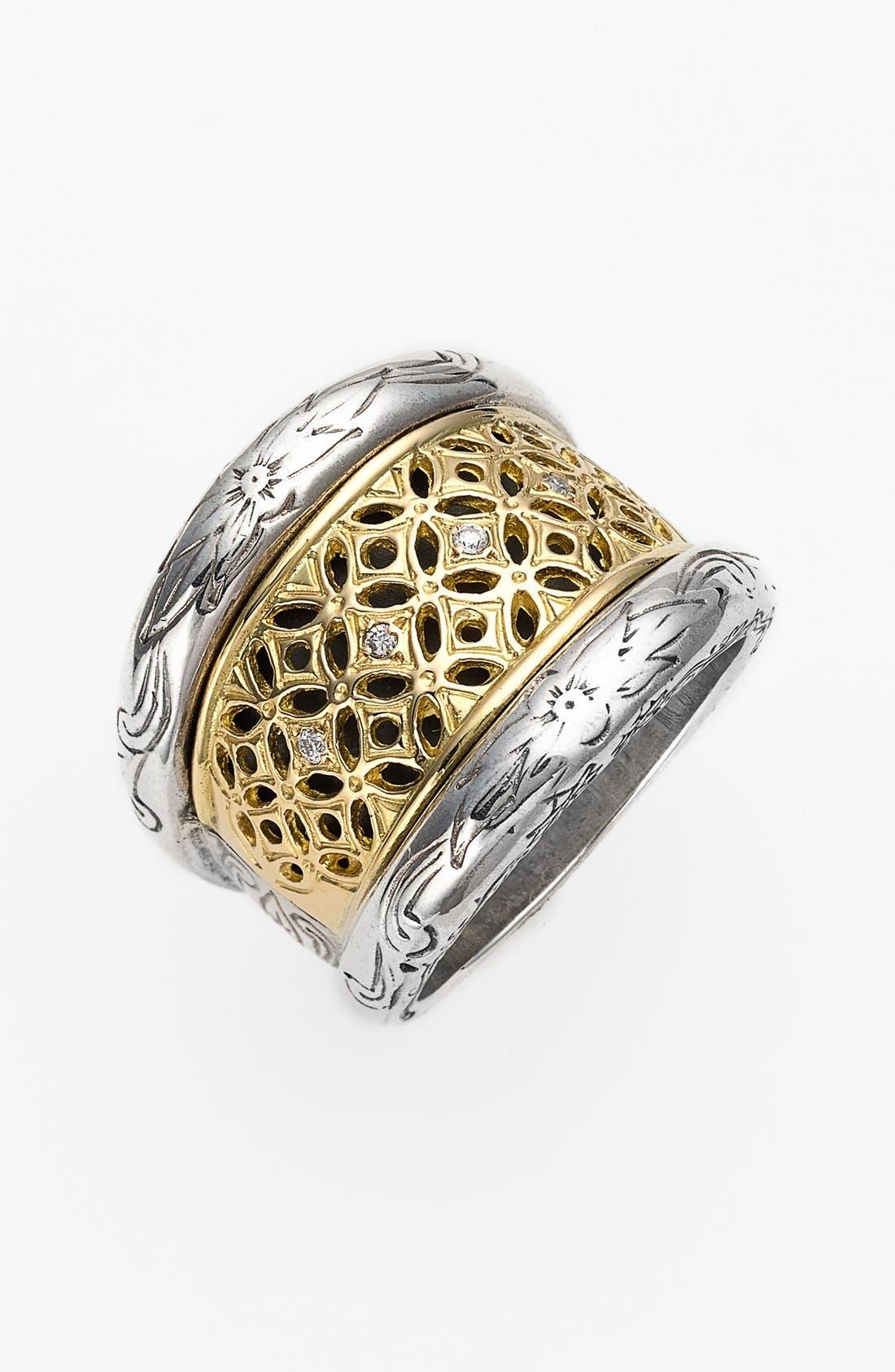 'Diamond Classics' Diamond Filigree Ring,                             Main thumbnail 1, color,                             Silver/ Gold