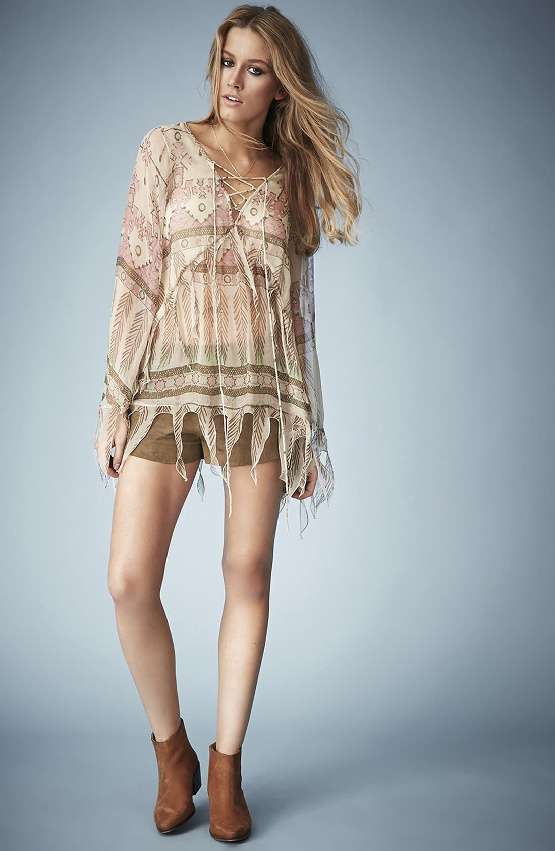 Alternate Image 5  - Kate Moss for Topshop Tassel Feather Print Blouse
