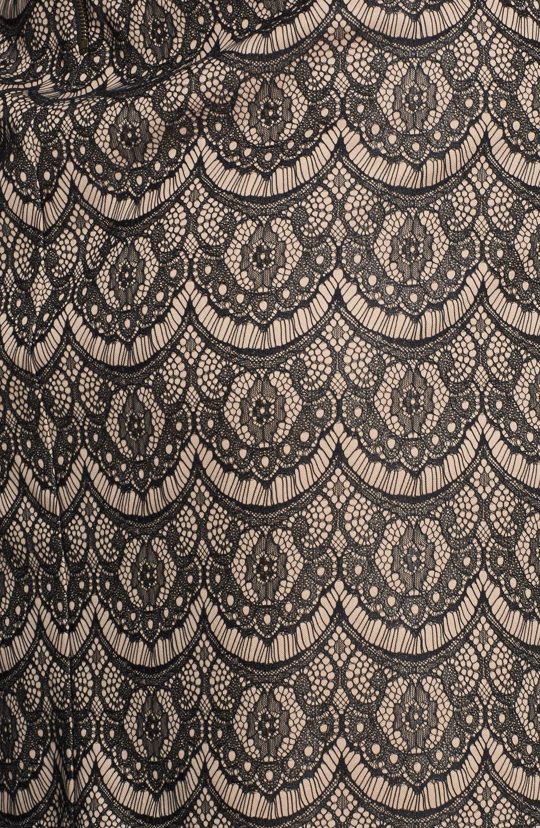 Alternate Image 3  - Donna Ricco Sheer Sleeve Lace Overlay Shift Dress (Plus Size)