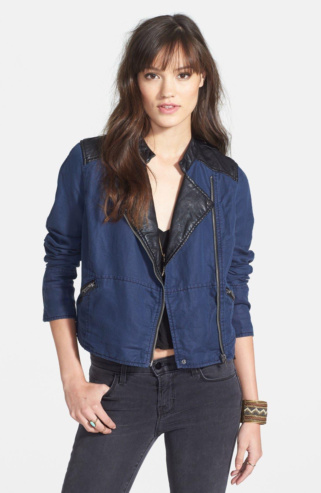 Faux Leather & Linen Blend Moto Jacket,                             Main thumbnail 1, color,                             Indigo
