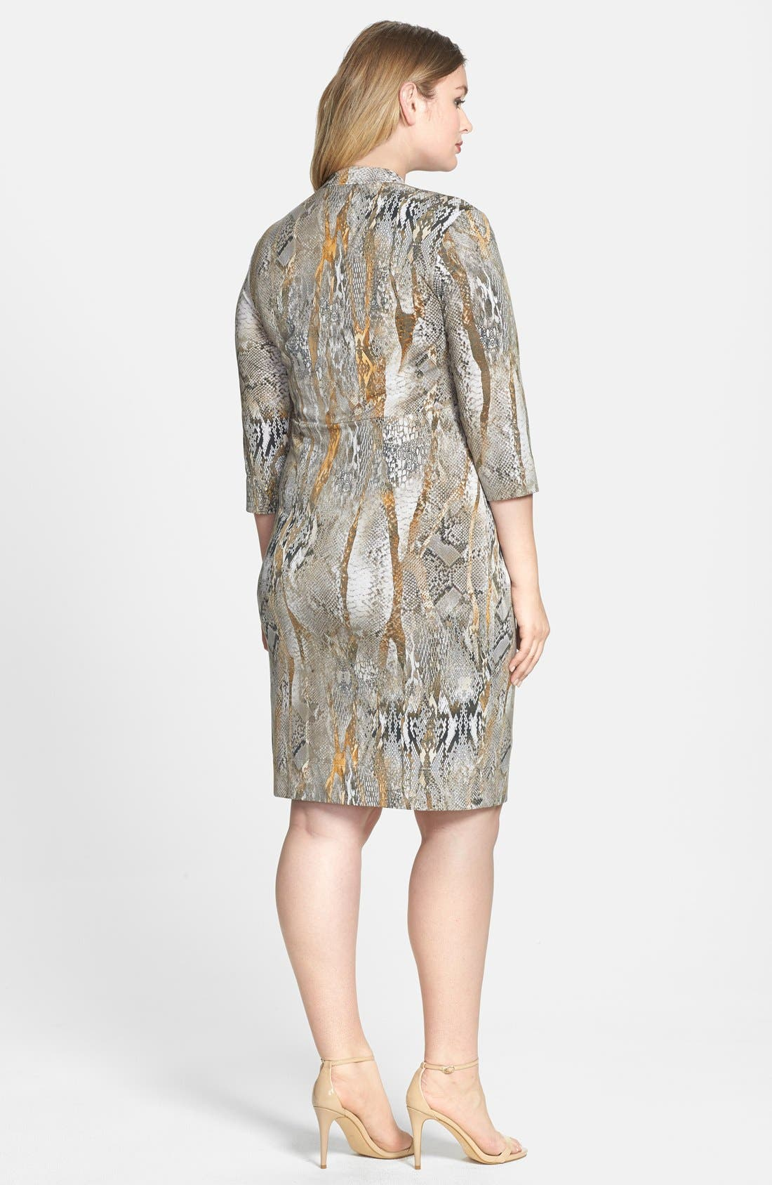 Alternate Image 2  - Donna Ricco Snakeskin Print Knot Front Jersey Dress (Plus Size)