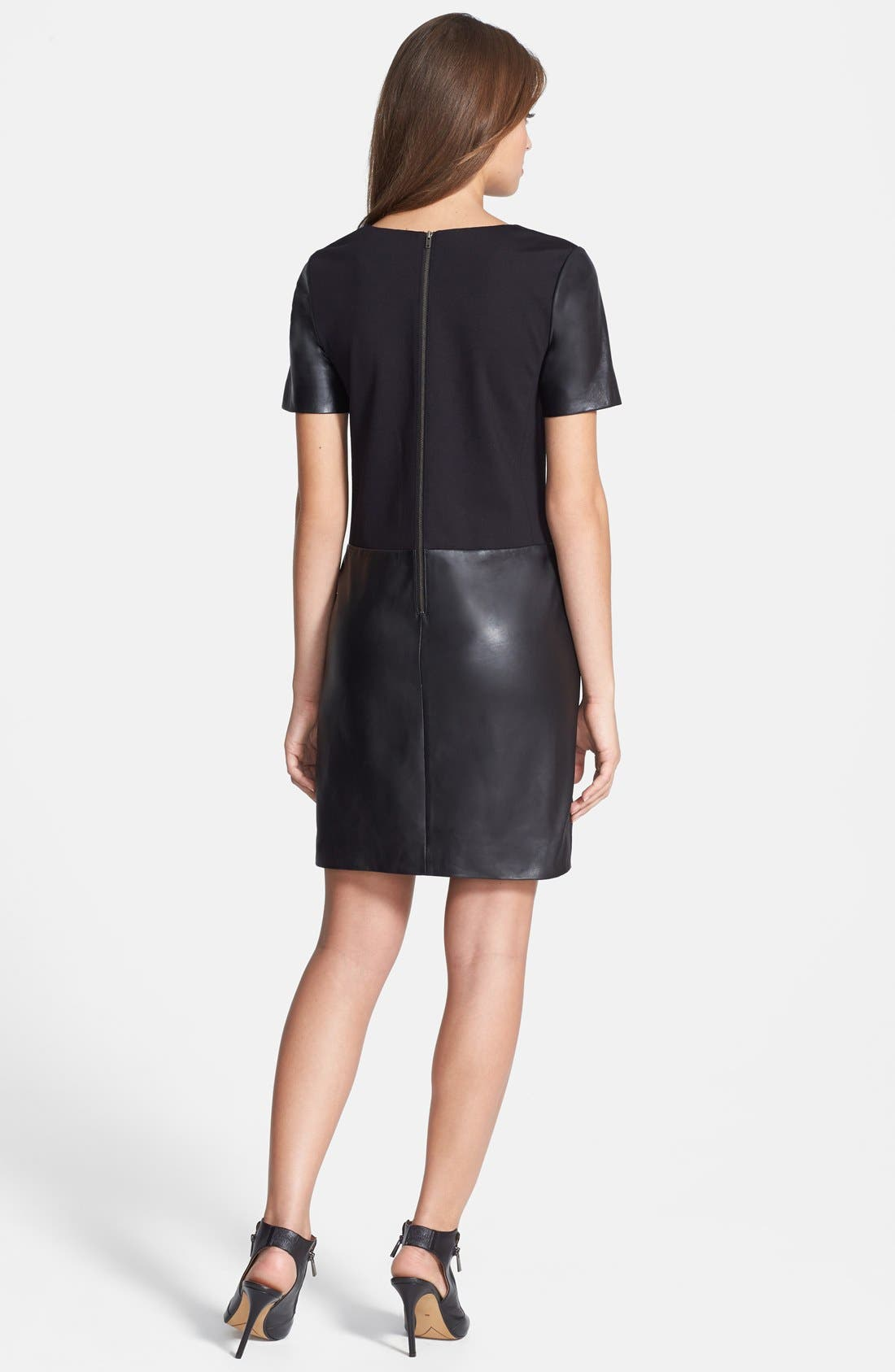 Alternate Image 2  - Halogen® Leather & Ponte Knit Shift Dress (Regular & Petite)