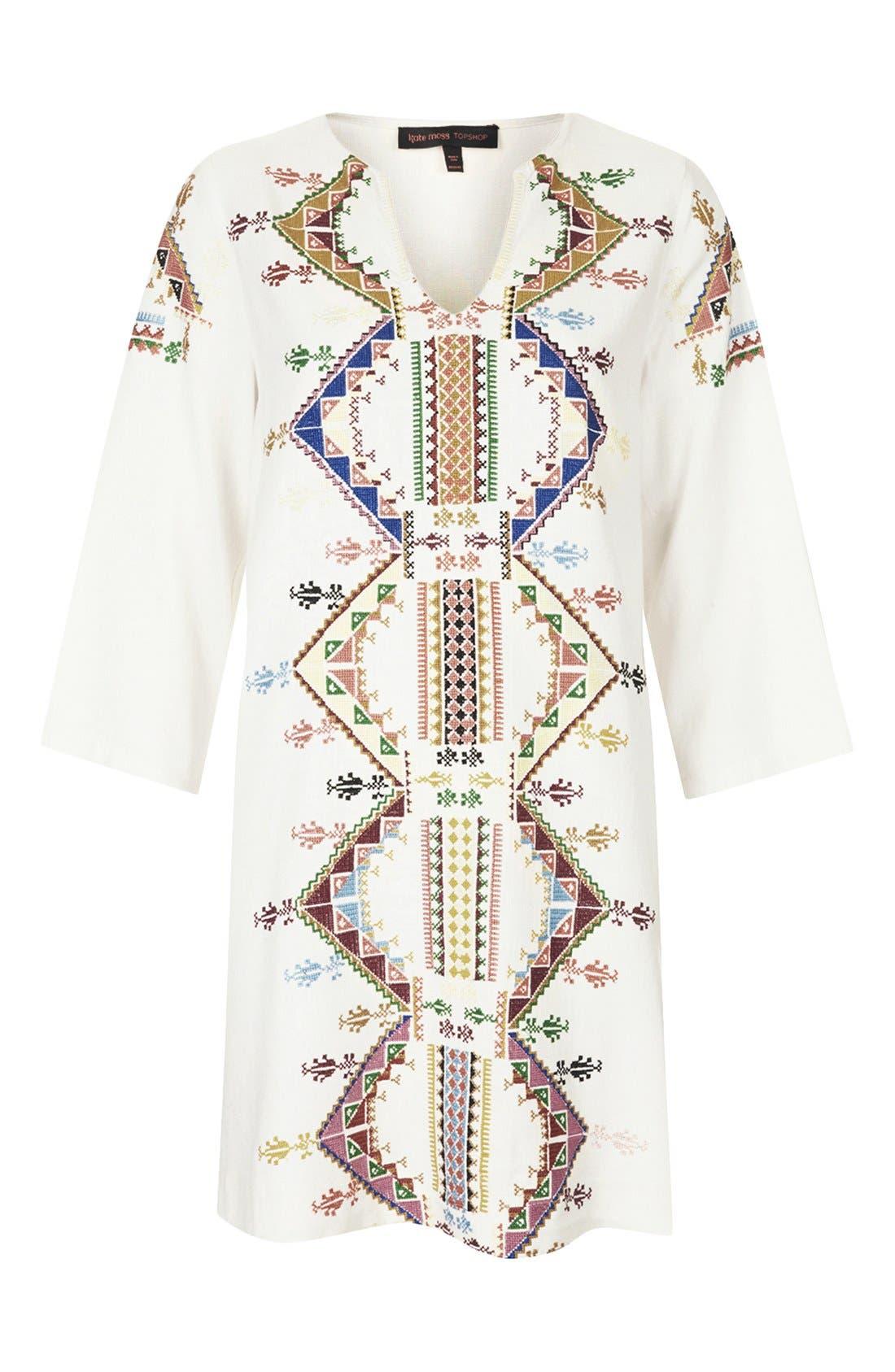 Alternate Image 3  - Kate Moss for Topshop Embroidered Smock Dress