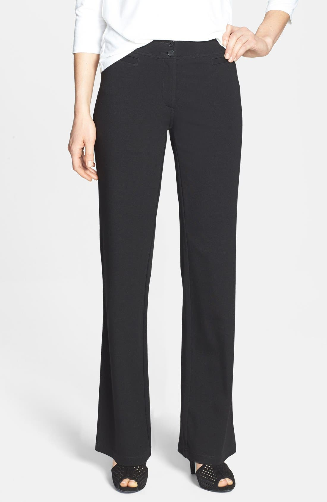 Alternate Image 1 Selected - Eileen Fisher Straight Leg Milano Knit Trousers