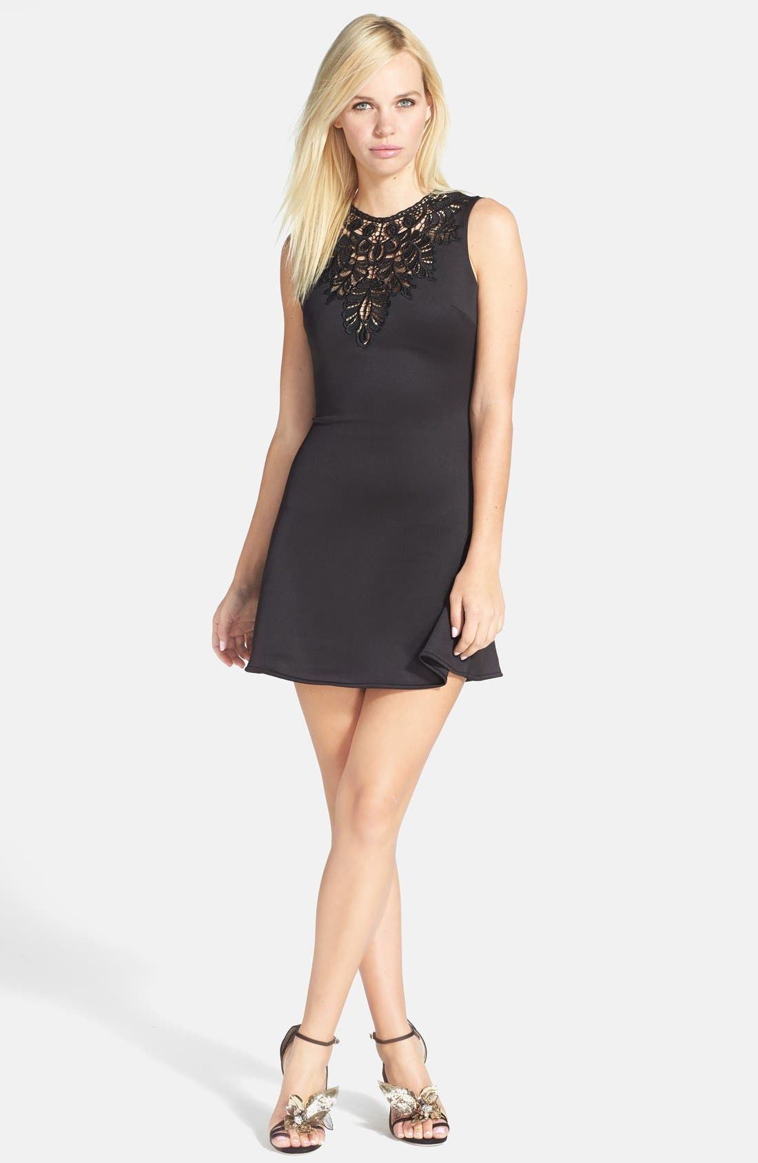 Alternate Image 1 Selected - One Rad Girl 'Darlene' Open Back Crochet Inset Skater Dress