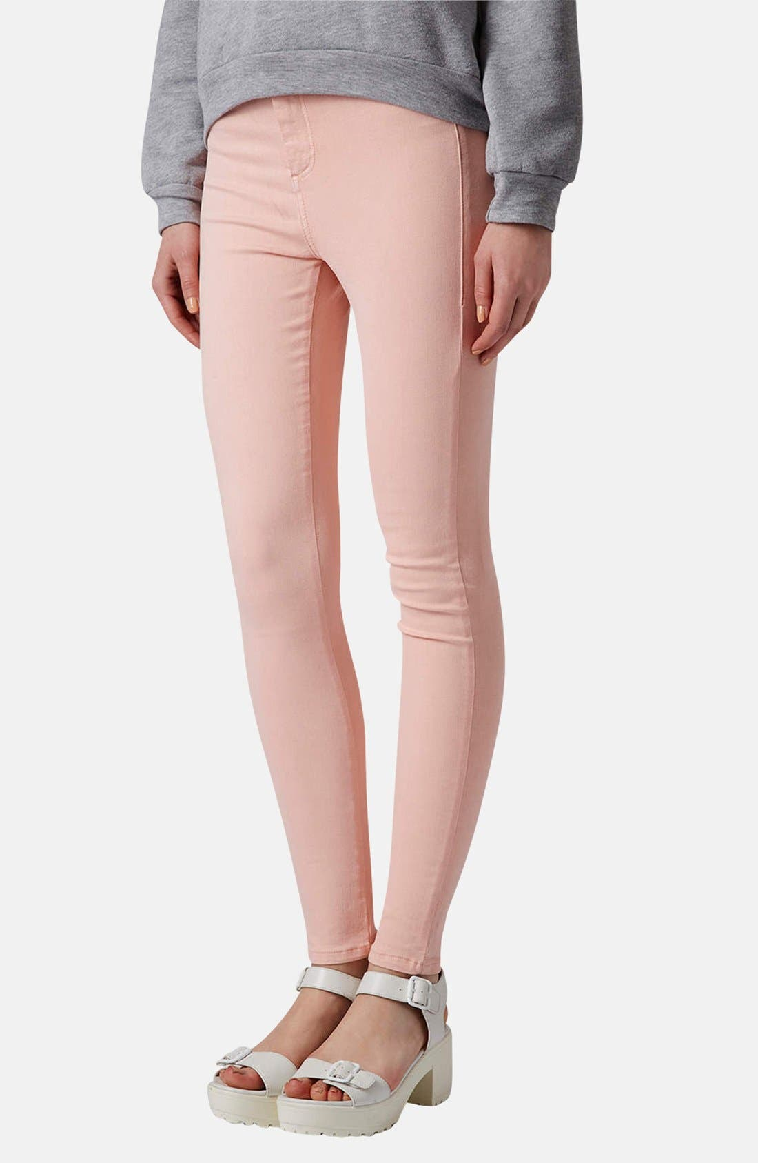 Alternate Image 1 Selected - Topshop Moto 'Joni' High Waist Skinny Jeans (Light Pink)