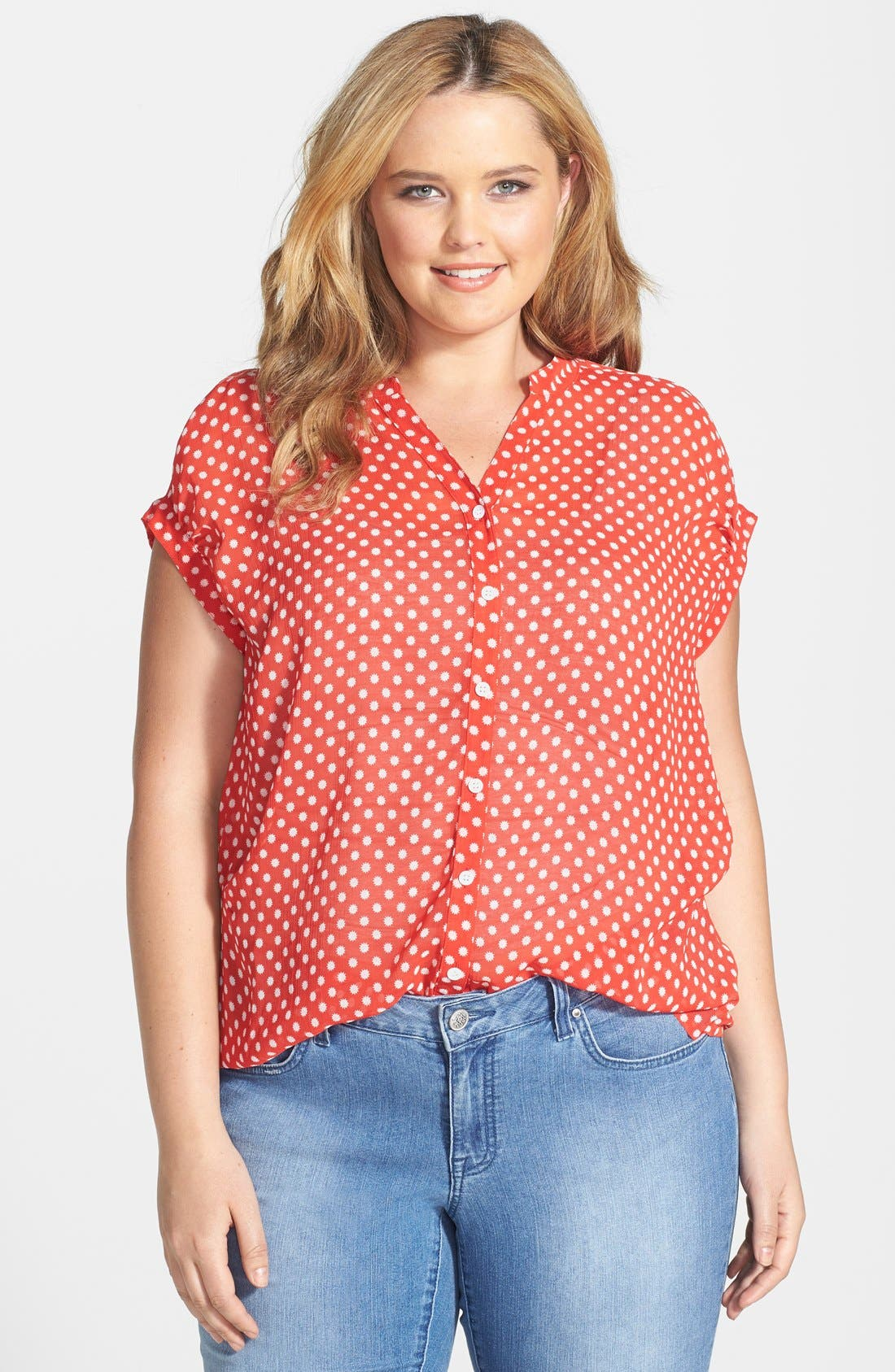 Main Image - Two by Vince Camuto 'Star Dot' Blouse (Plus Size)