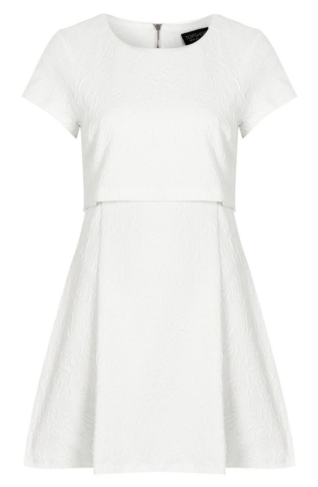 Alternate Image 3  - Topshop Jacquard Crop Overlay Skater Dress