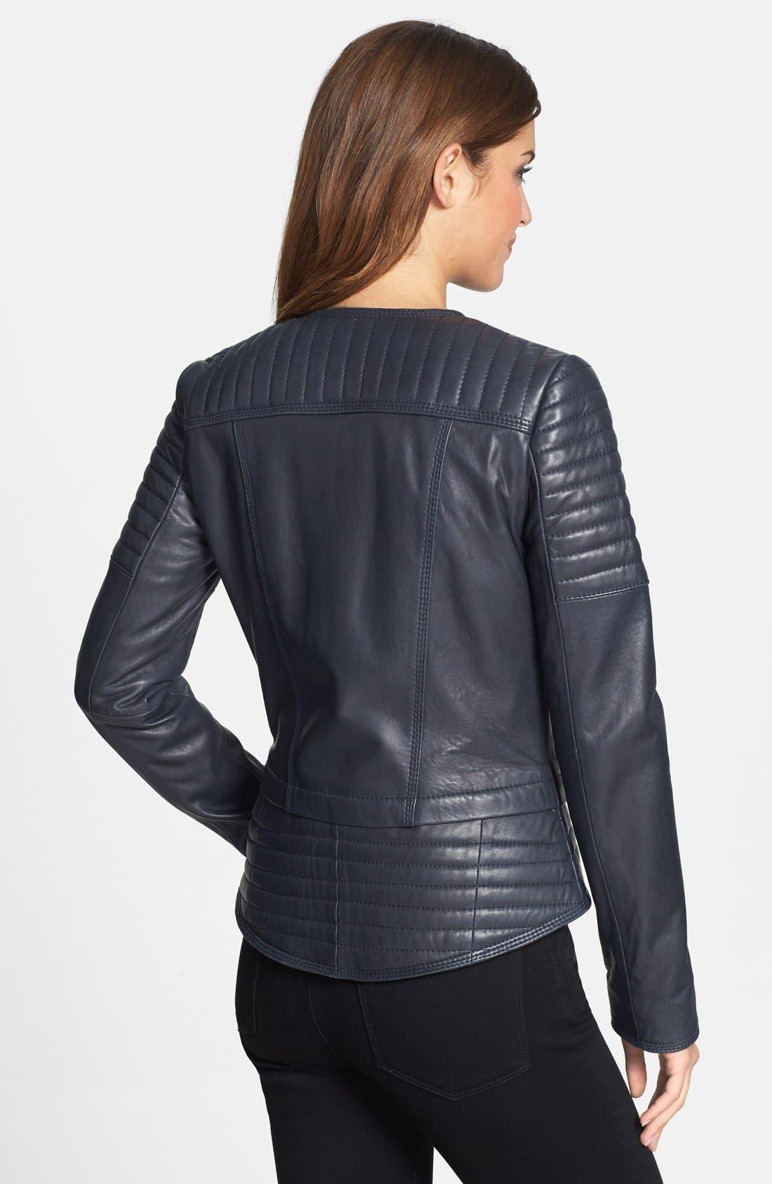 Alternate Image 2  - Marc New York Channel Quilt Leather Moto Jacket