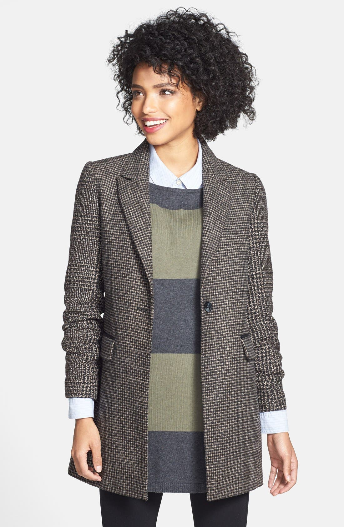 Tweed Single Breasted Reefer Coat,                         Main,                         color, Taupe/ Black