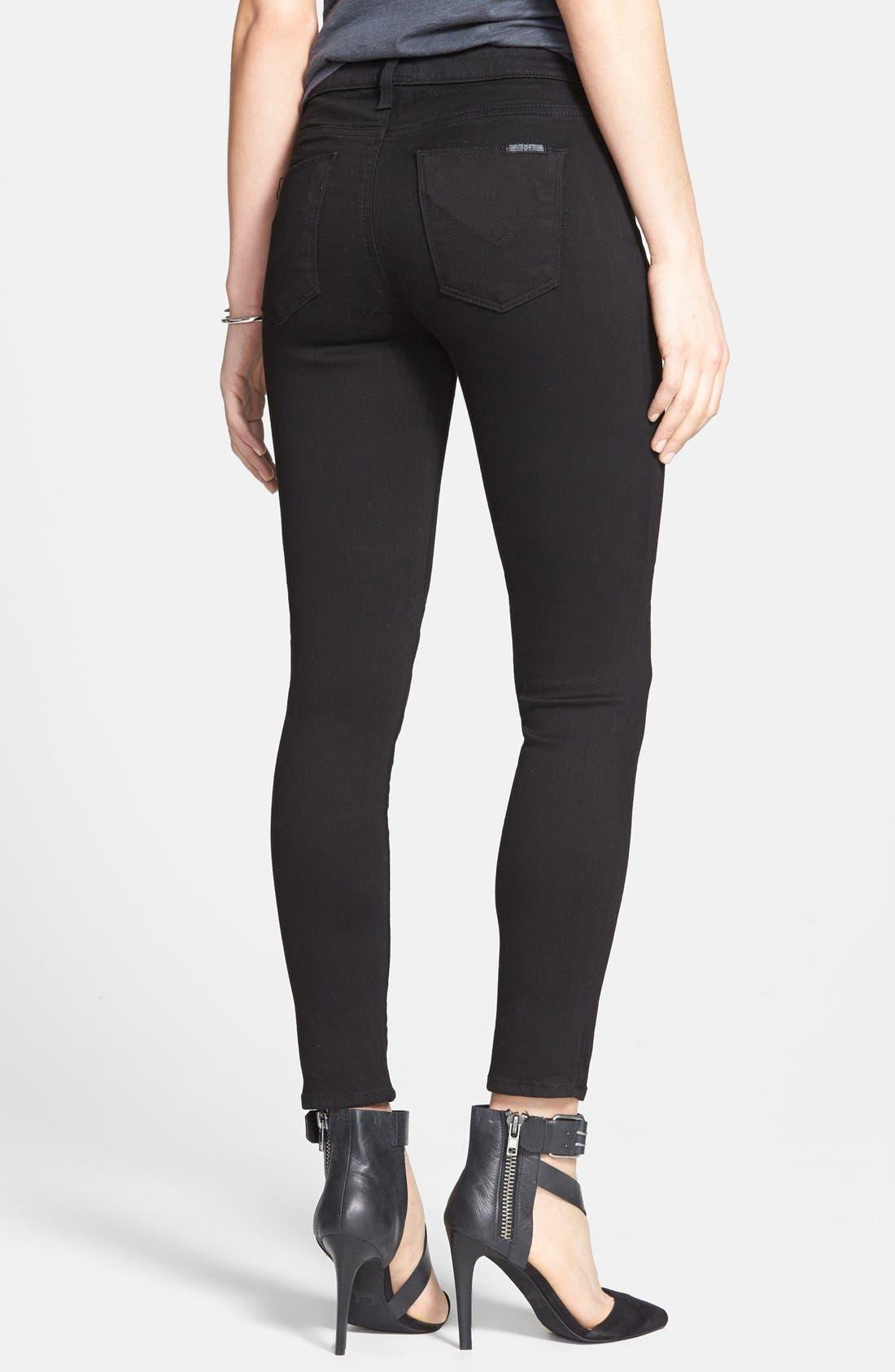 Alternate Image 2  - Hudson Jeans 'Nico' Mid Rise Super Skinny Jeans (Black)