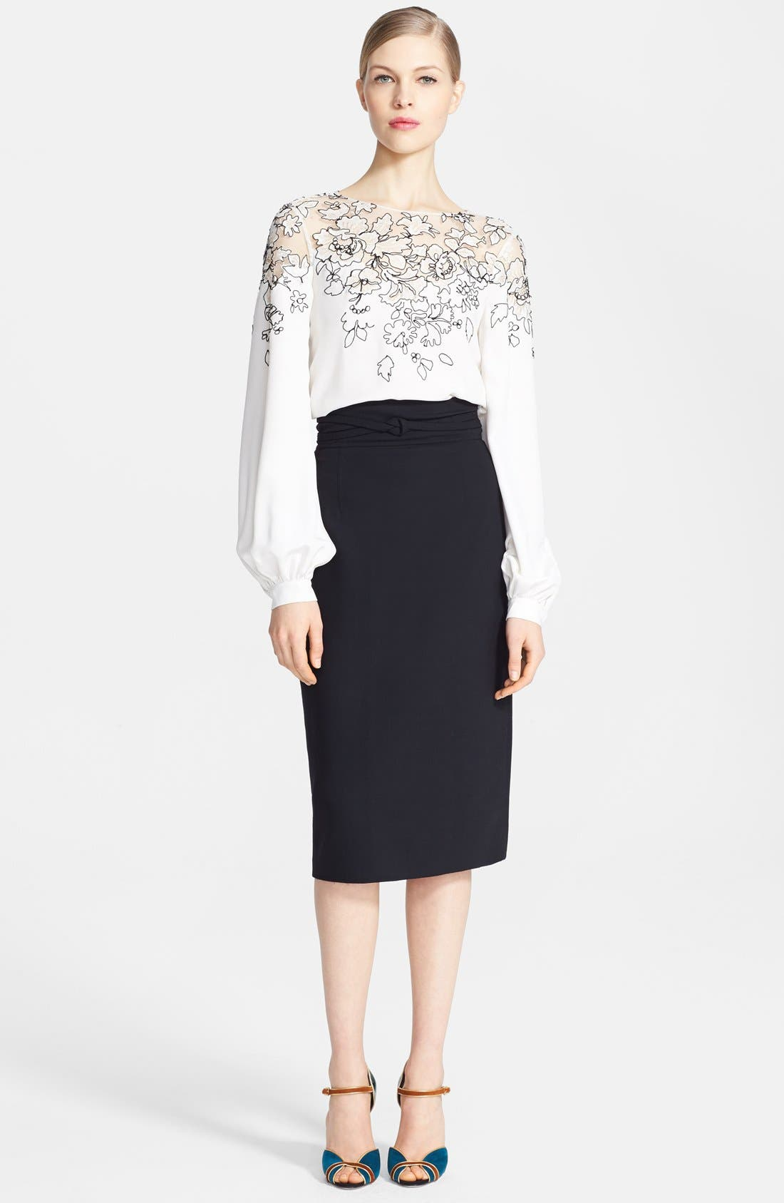 Embroidered Silk Blouse,                         Main,                         color, Ivory