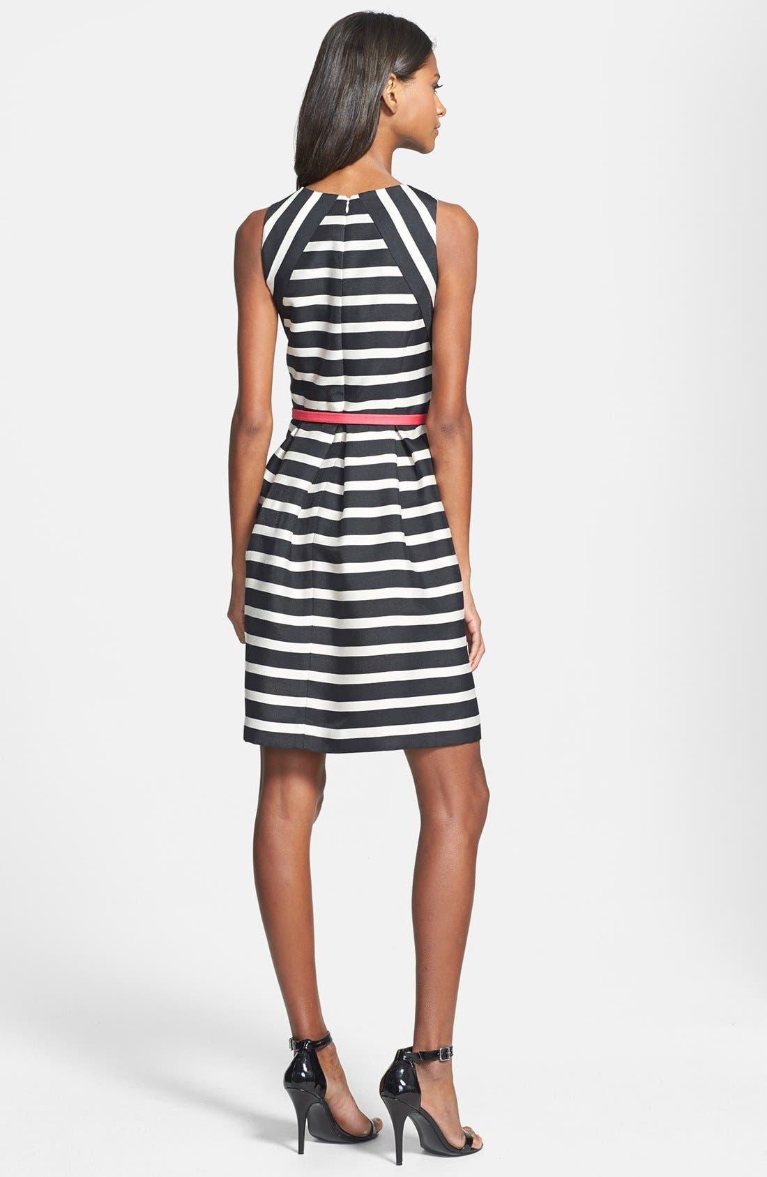 Alternate Image 2  - Eliza J Belted Stripe Jacquard Fit & Flare Dress