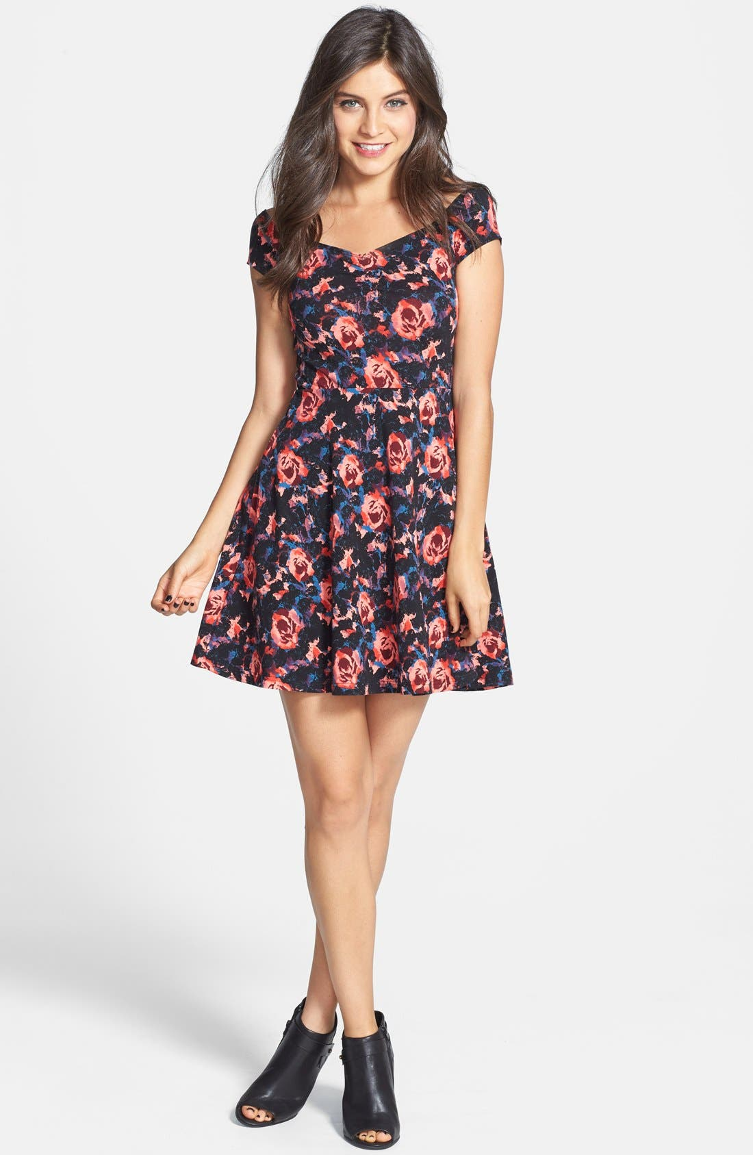 Alternate Image 3  - Frenchi® Floral Print Off-Shoulder Fit & Flare Dress (Juniors)