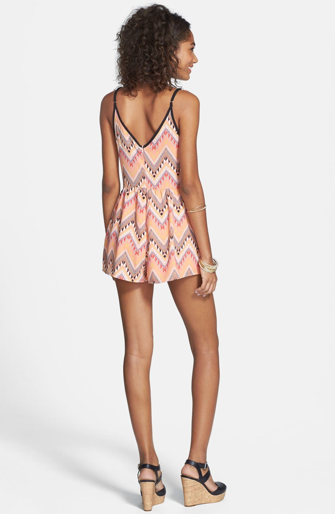 Alternate Image 2  - Lush V-Neck Woven Romper (Juniors)