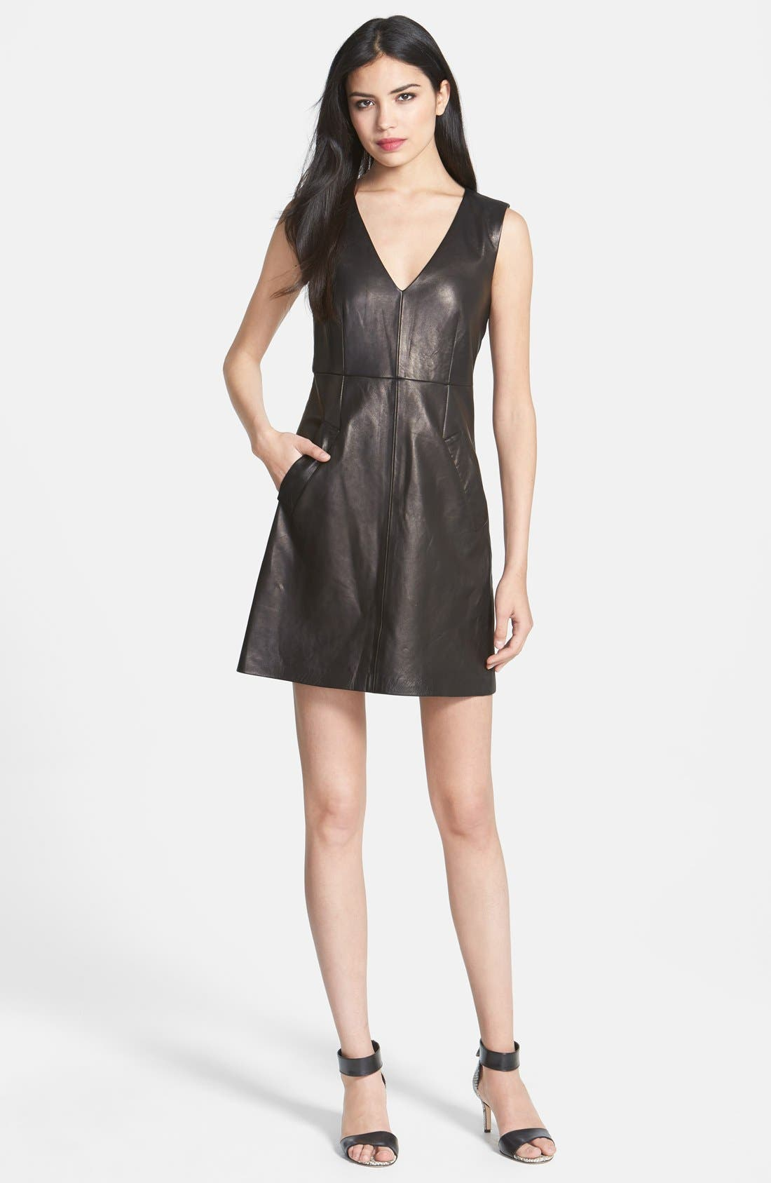 Alternate Image 1 Selected - Diane von Furstenberg 'Halle' Leather A-Line Dress
