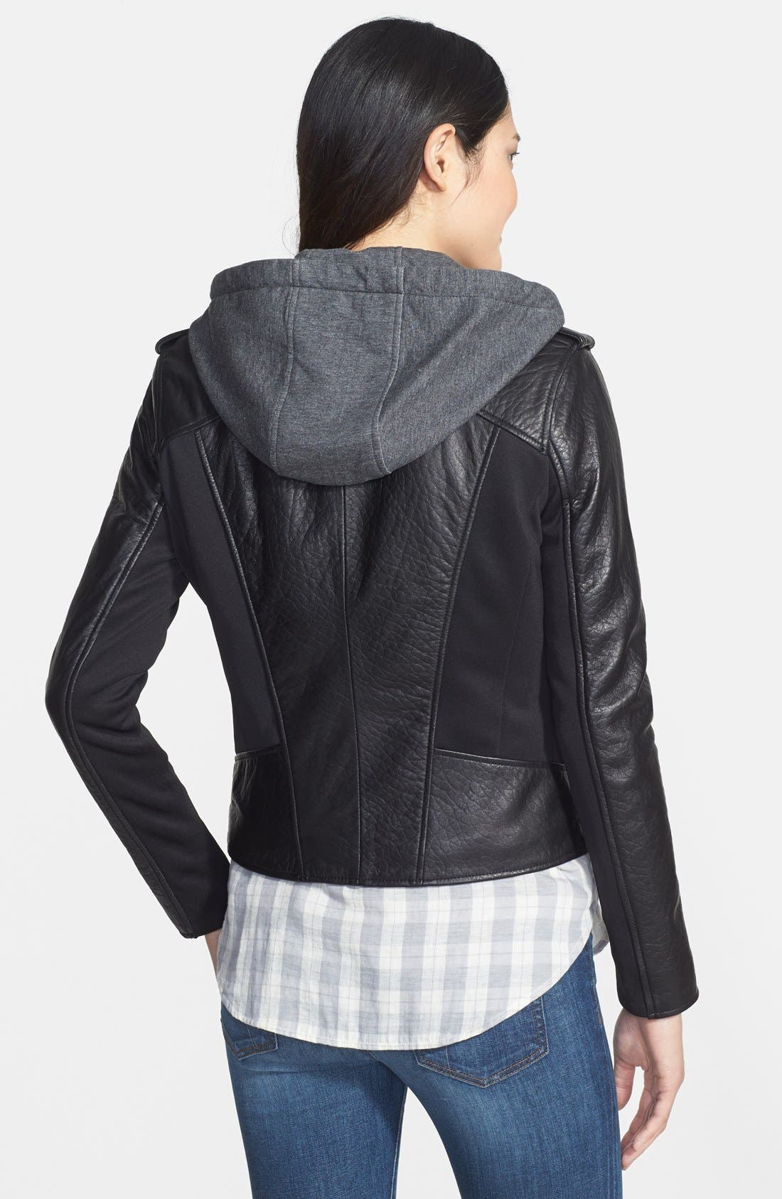 Alternate Image 2  - Marc New York by Andrew Marc Mixed Media Leather Jacket with Removable Hooded Liner