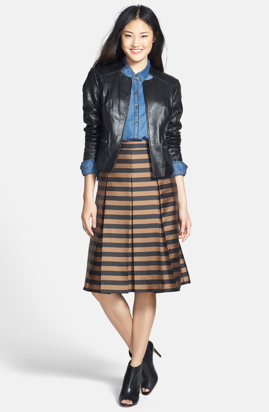 Alternate Image 4  - Halogen® Zip Detail Leather Jacket