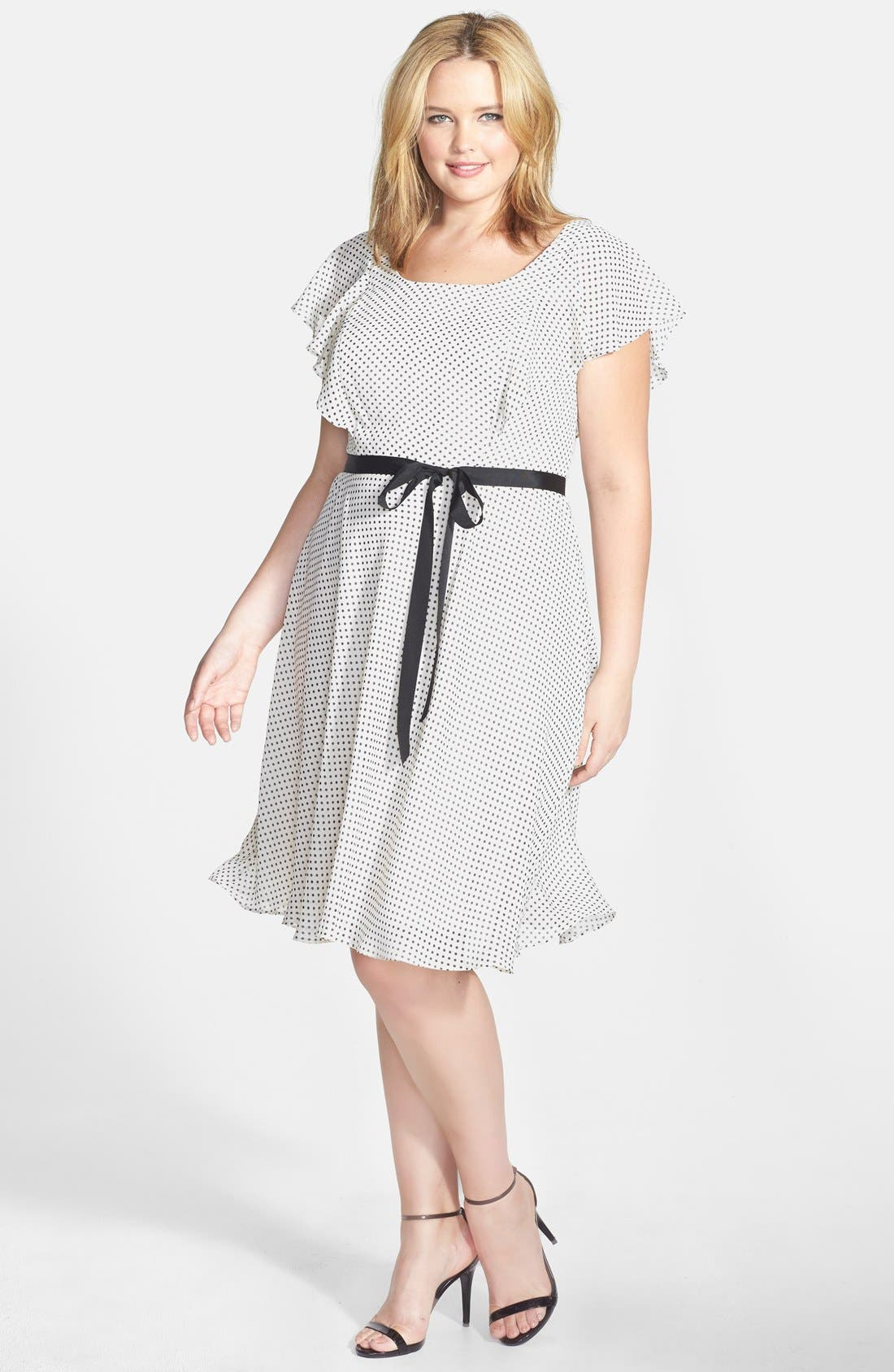 Alternate Image 1 Selected - Adrianna Papell Dot Print Ruffle A-Line Chiffon Dress (Plus Size)