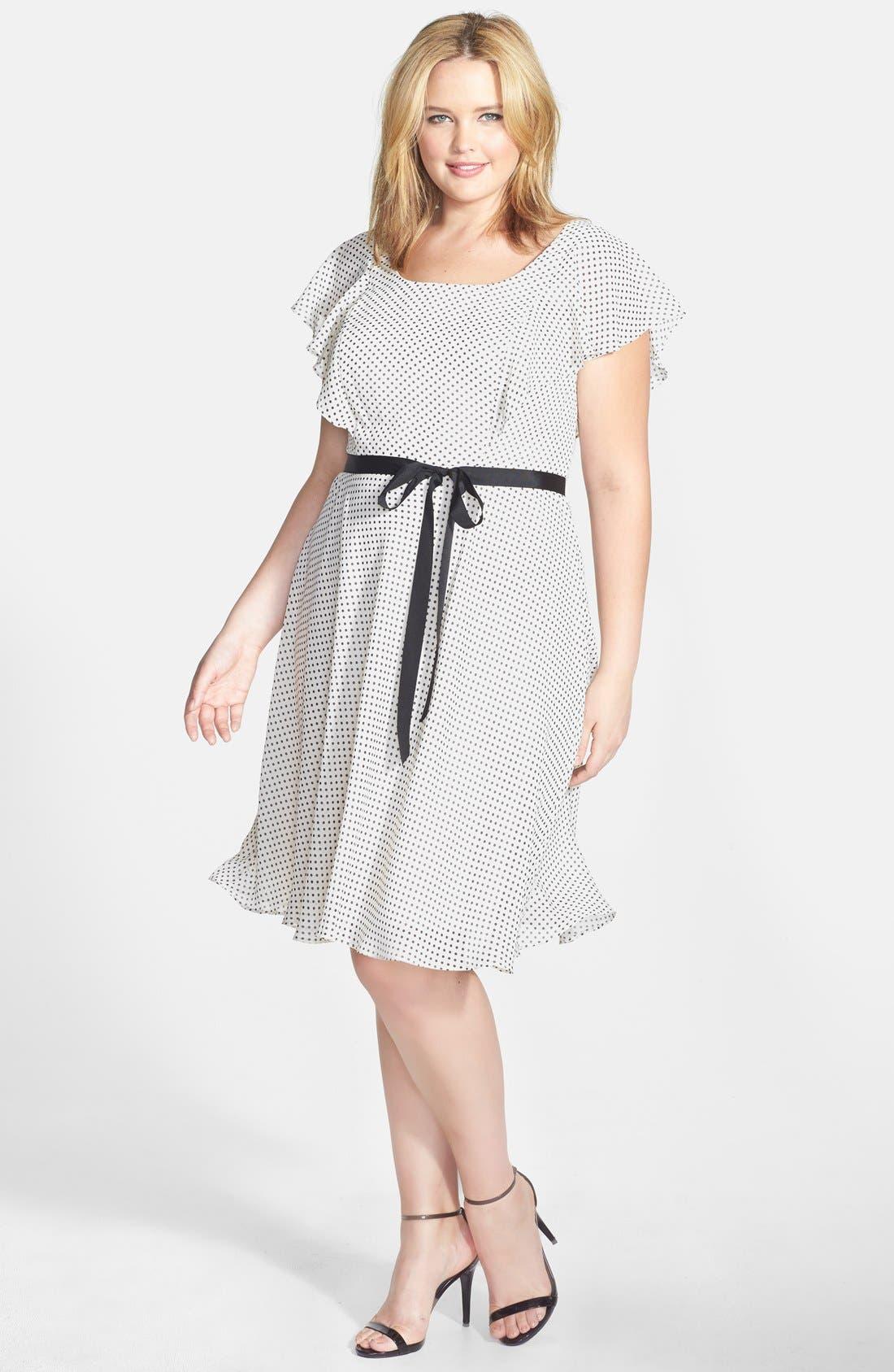 Main Image - Adrianna Papell Dot Print Ruffle A-Line Chiffon Dress (Plus Size)
