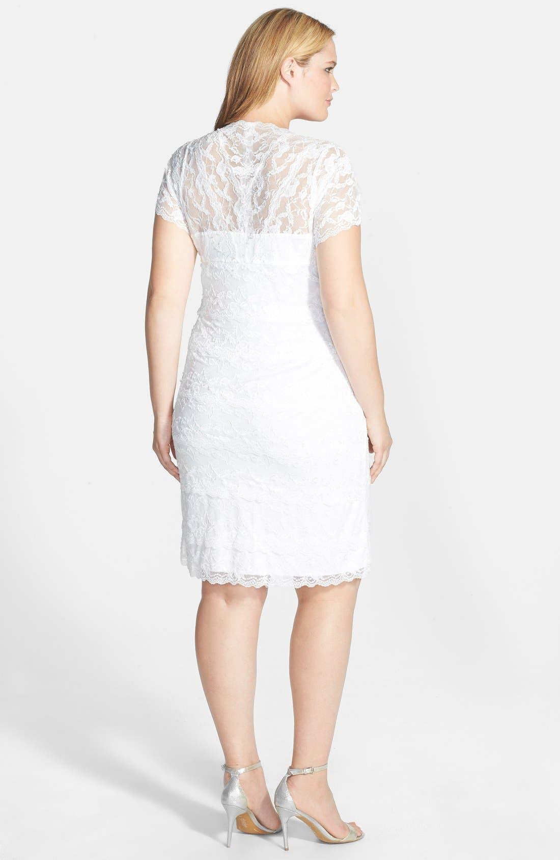 Alternate Image 2  - Marina Tiered Lace Dress (Plus Size)