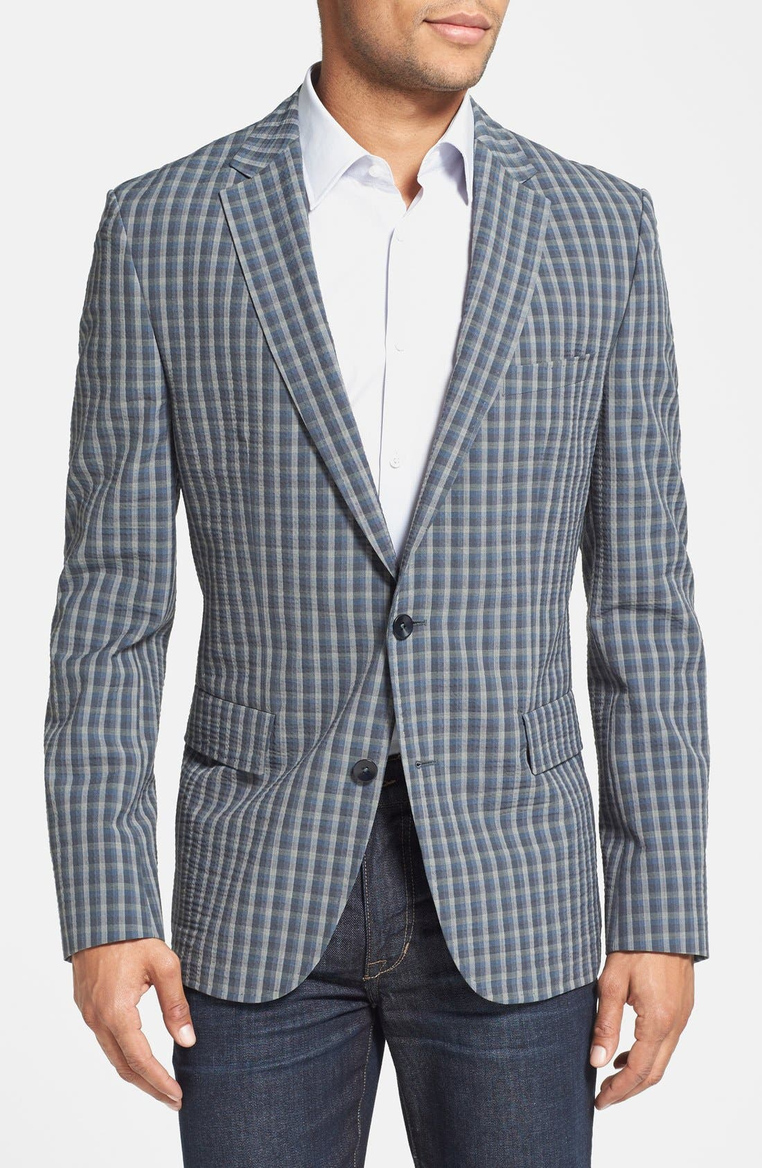 Main Image - BOSS HUGO BOSS 'Noris' Trim Fit Plaid Sport Coat