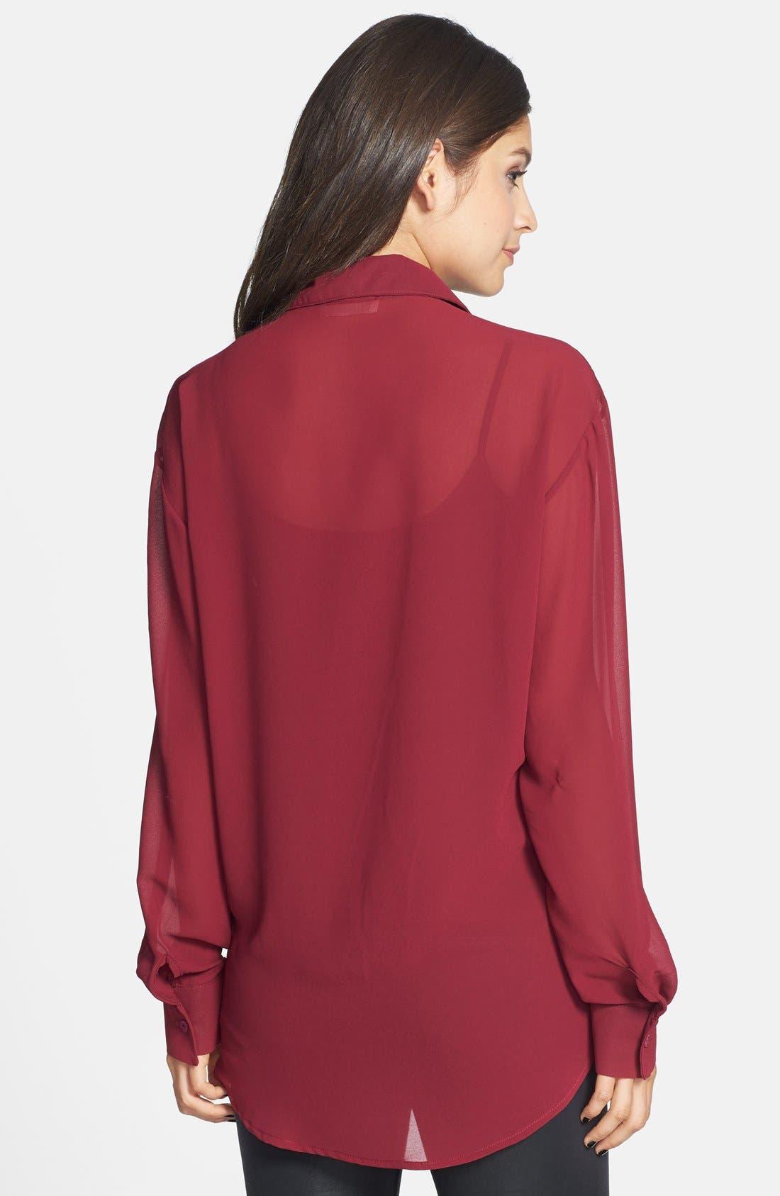 Alternate Image 2  - Haute Society Chiffon Shirt (Juniors)