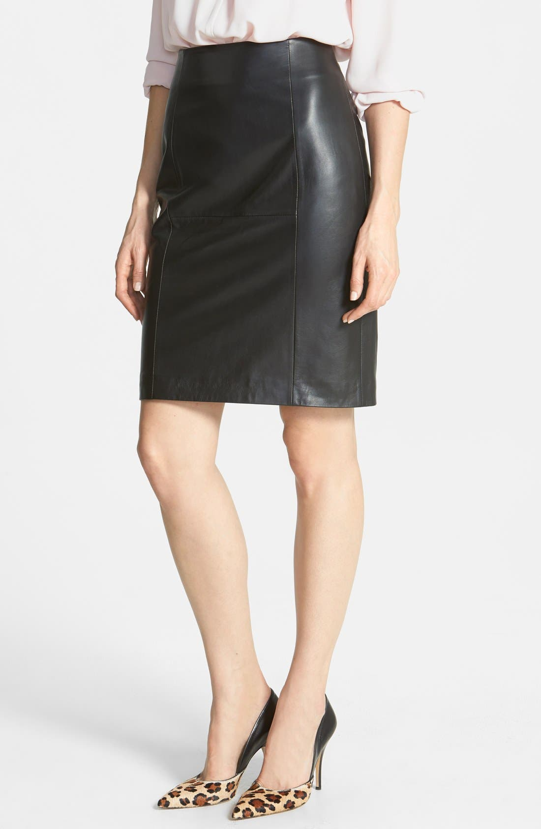 Main Image - Halogen® Leather Panel Pencil Skirt (Online Only)