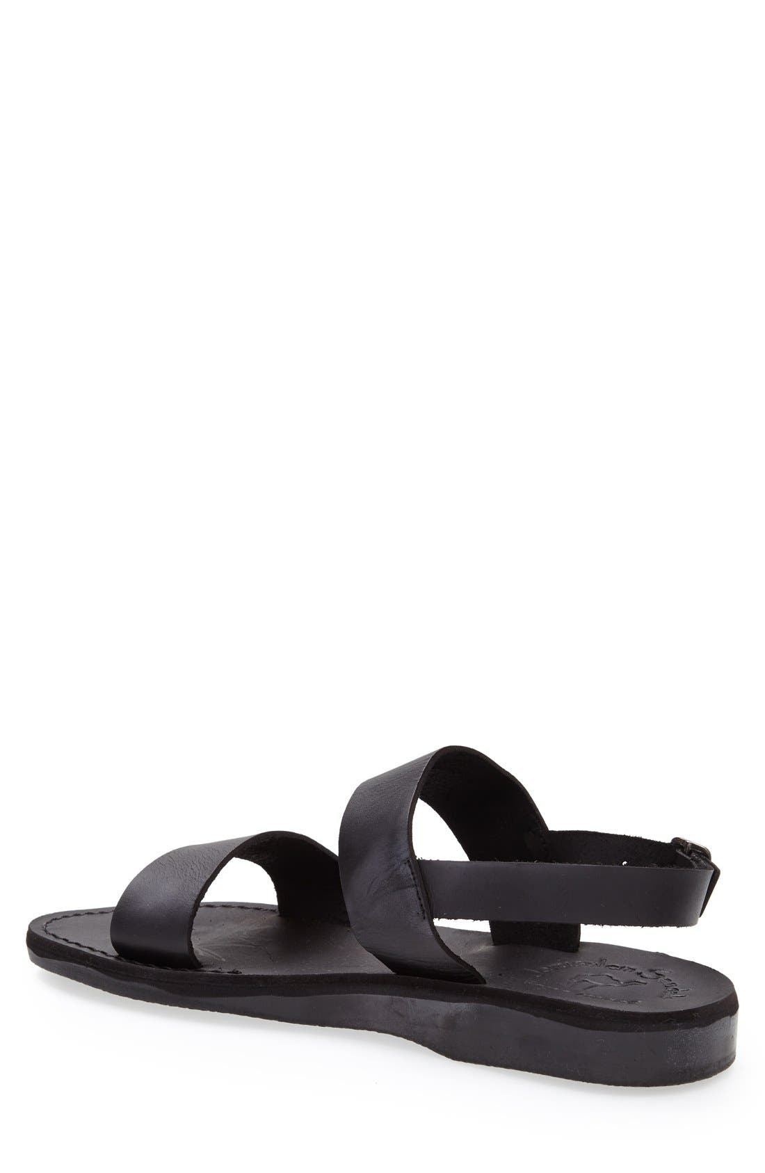 'Golan' Leather Sandal,                             Alternate thumbnail 2, color,                             Black