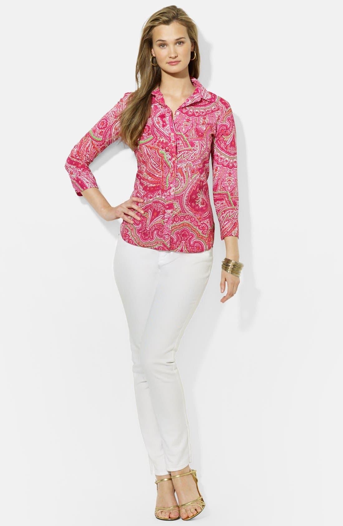 Paisley Print Cotton Shirt,                             Alternate thumbnail 3, color,                             Pink Multi