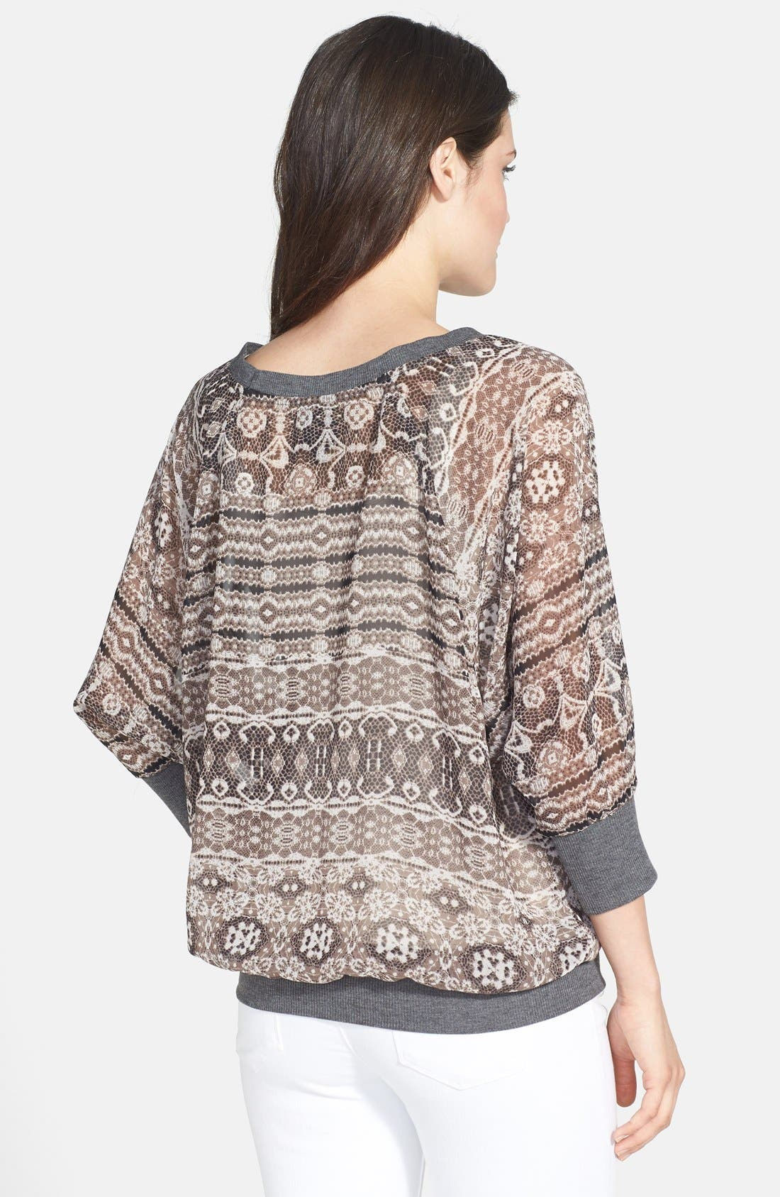 Alternate Image 2  - Bobeau Front Pocket Print Top