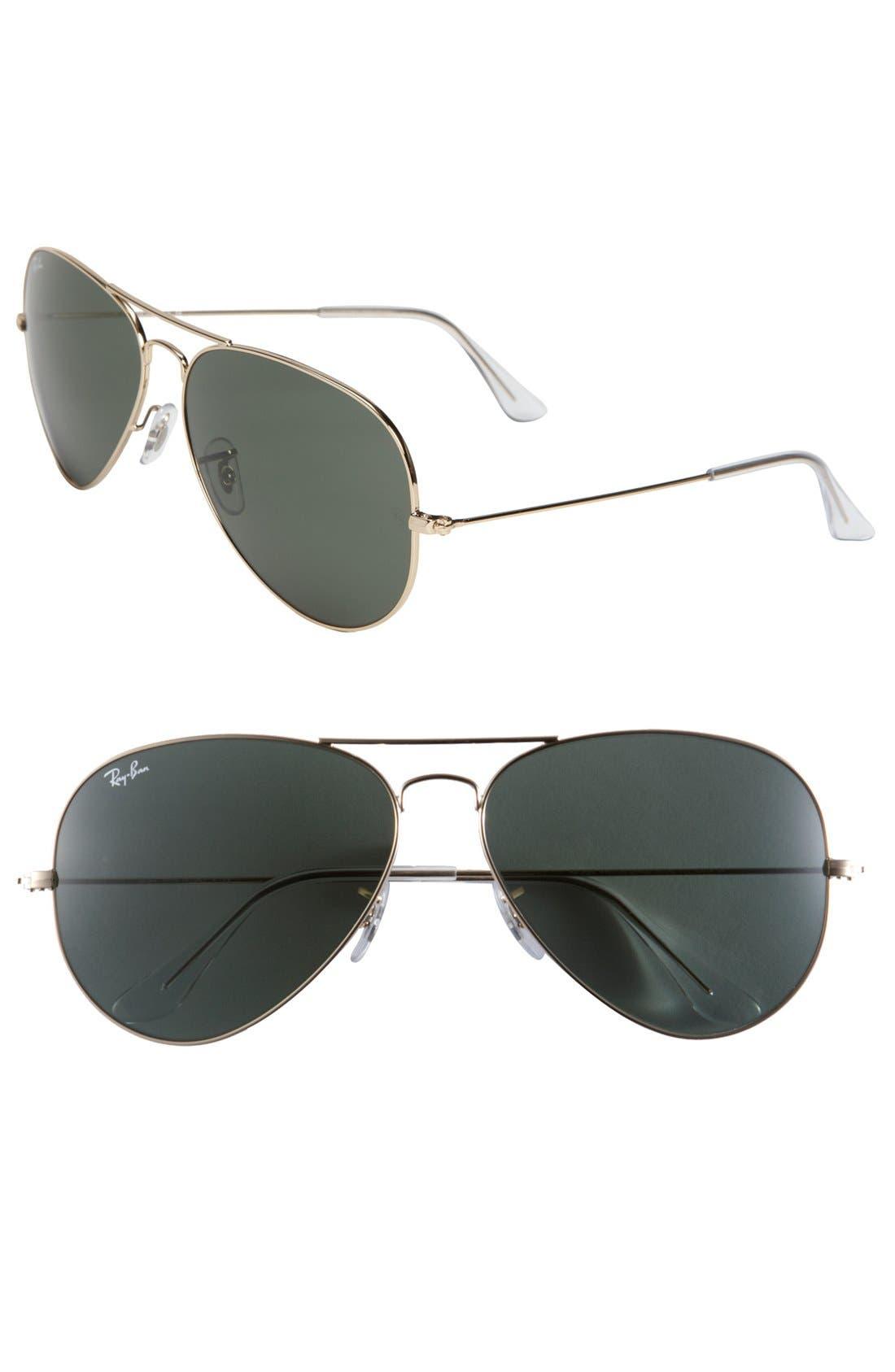 Large Original 62mm Aviator Sunglasses,                         Main,                         color, Gold/ Green