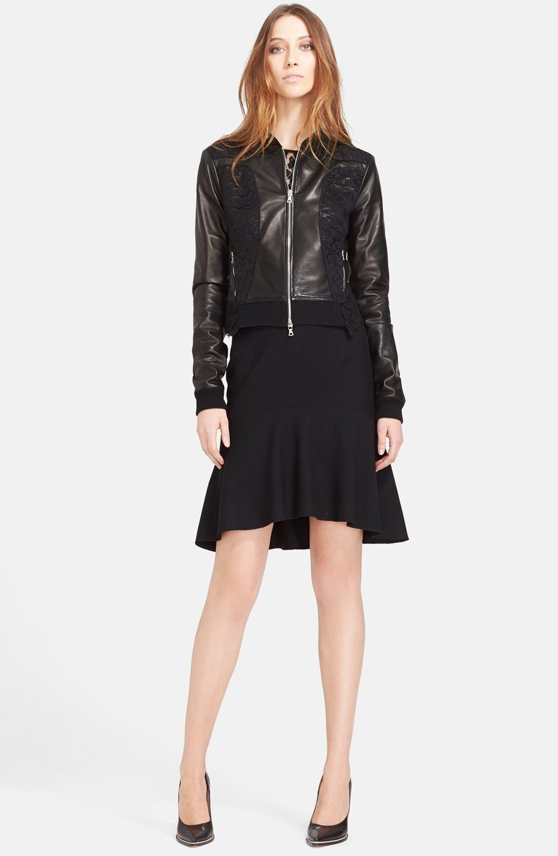 Alternate Image 3  - Nina Ricci Lace Panel Leather Bomber Jacket