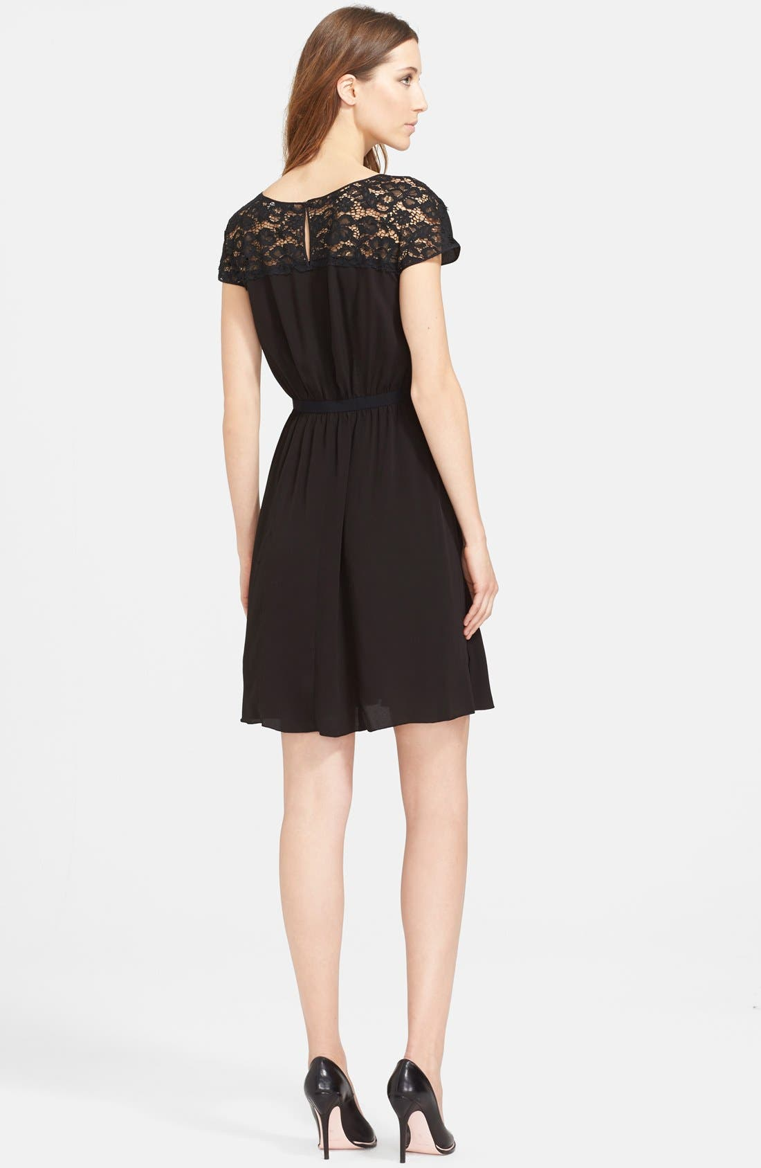 Alternate Image 2  - Nina Ricci Lace Trim Crepe Dress