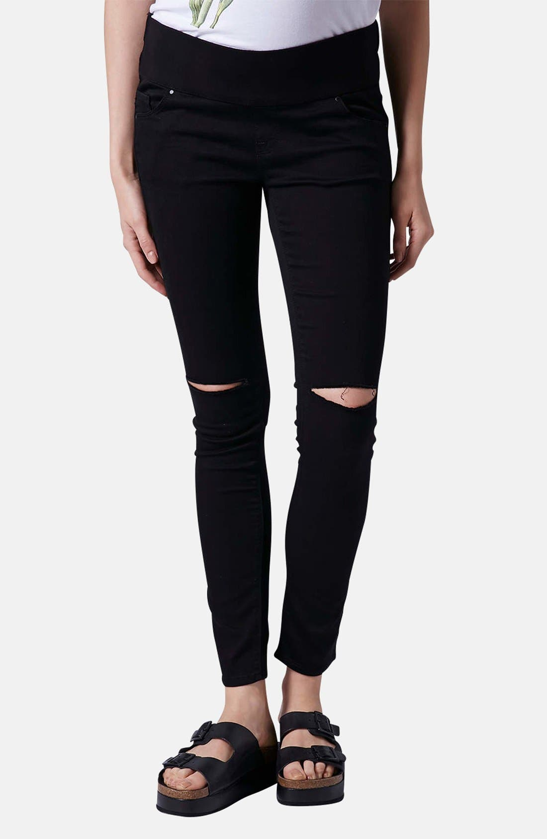 Alternate Image 1 Selected - Topshop Moto 'Leigh' Ripped Maternity Jeans (Black) (Regular, Short & Long)