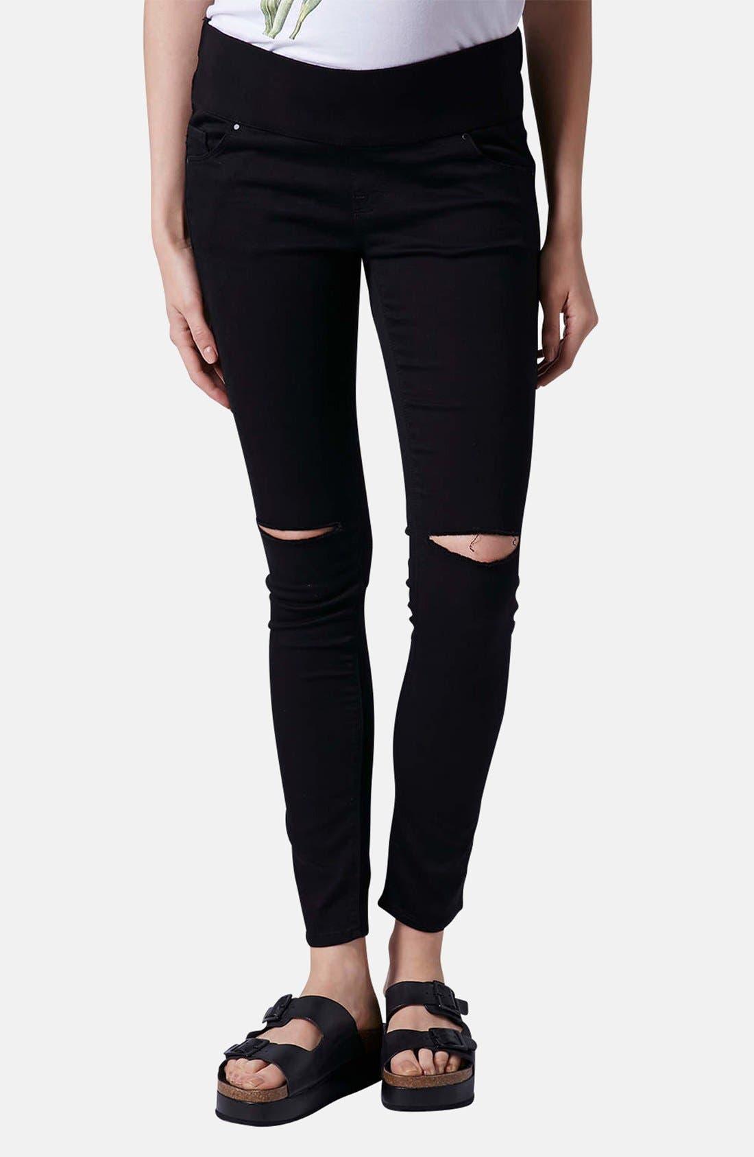 Main Image - Topshop Moto 'Leigh' Ripped Maternity Jeans (Black) (Regular, Short & Long)