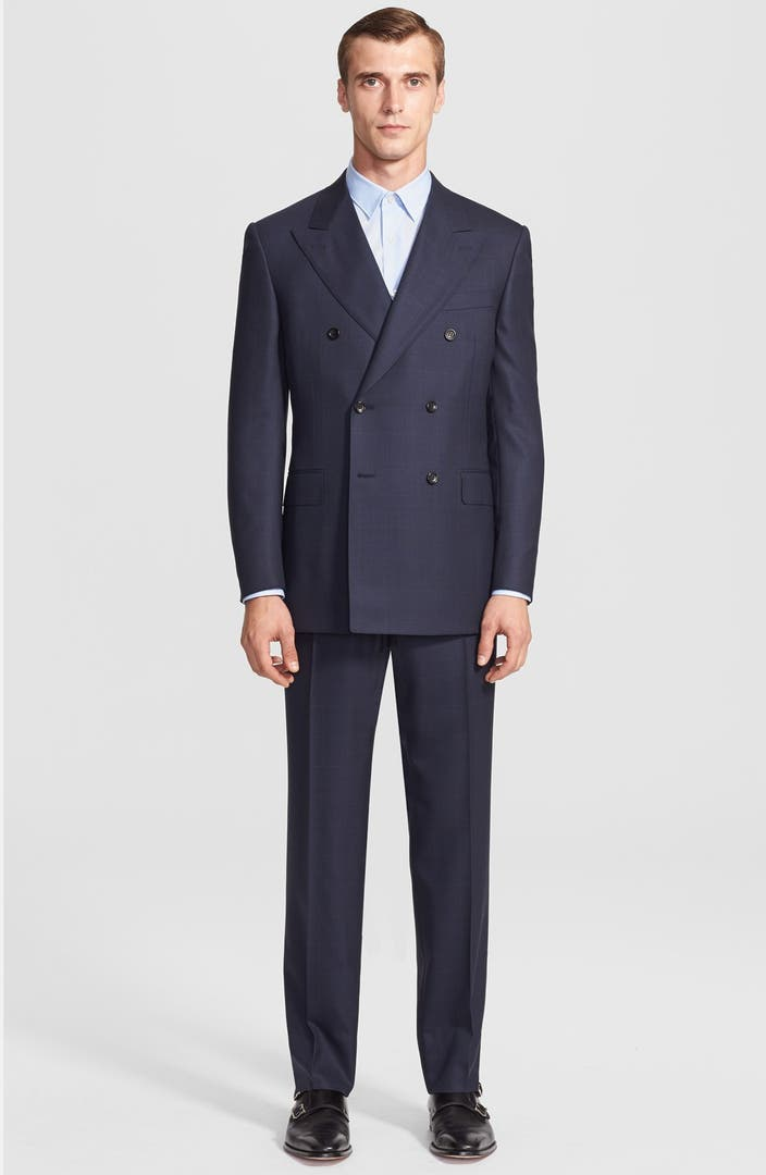 Canali Classic Fit Double Breasted Windowpane Suit | Nordstrom