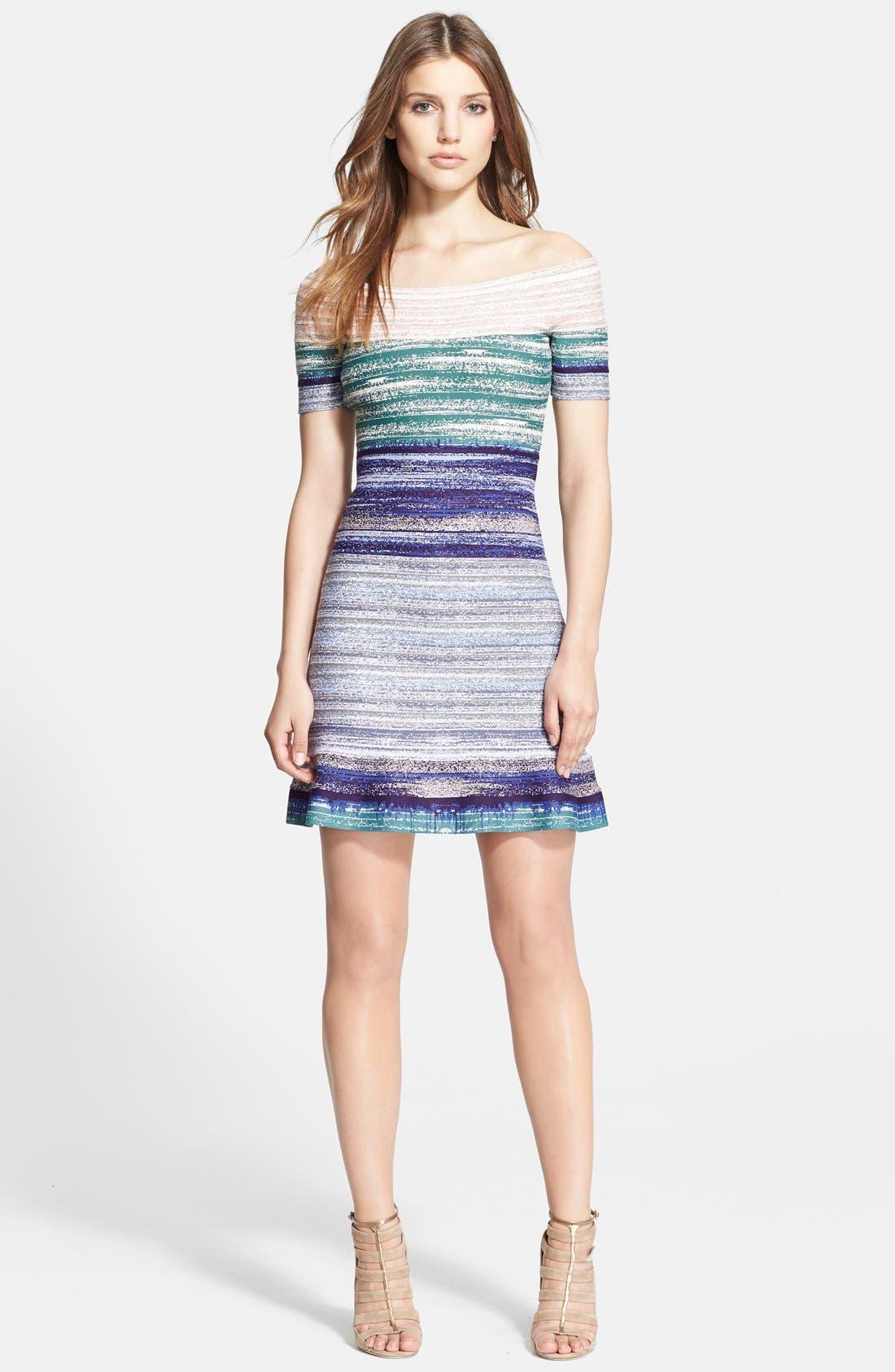 Alternate Image 1 Selected - Herve Leger Off-Shoulder Flared Dress
