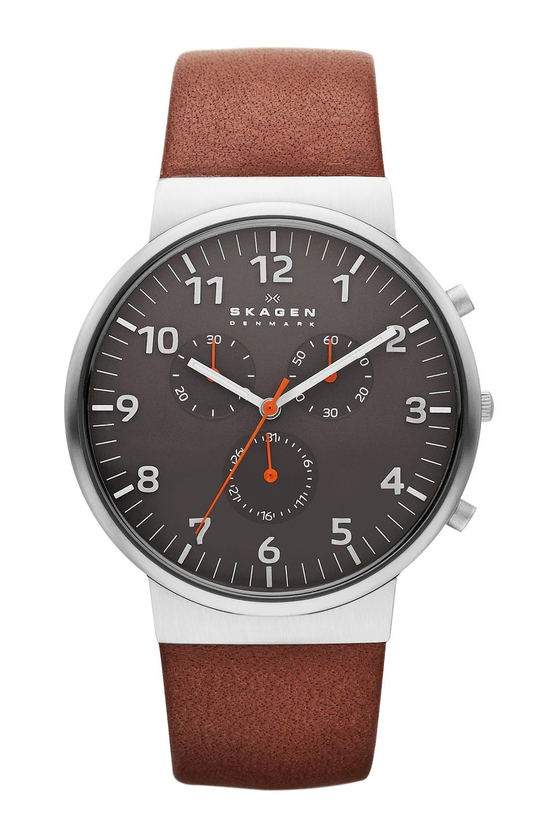 Alternate Image 1 Selected - Skagen 'Ancher' Round Chronograph Leather Strap Watch, 40mm